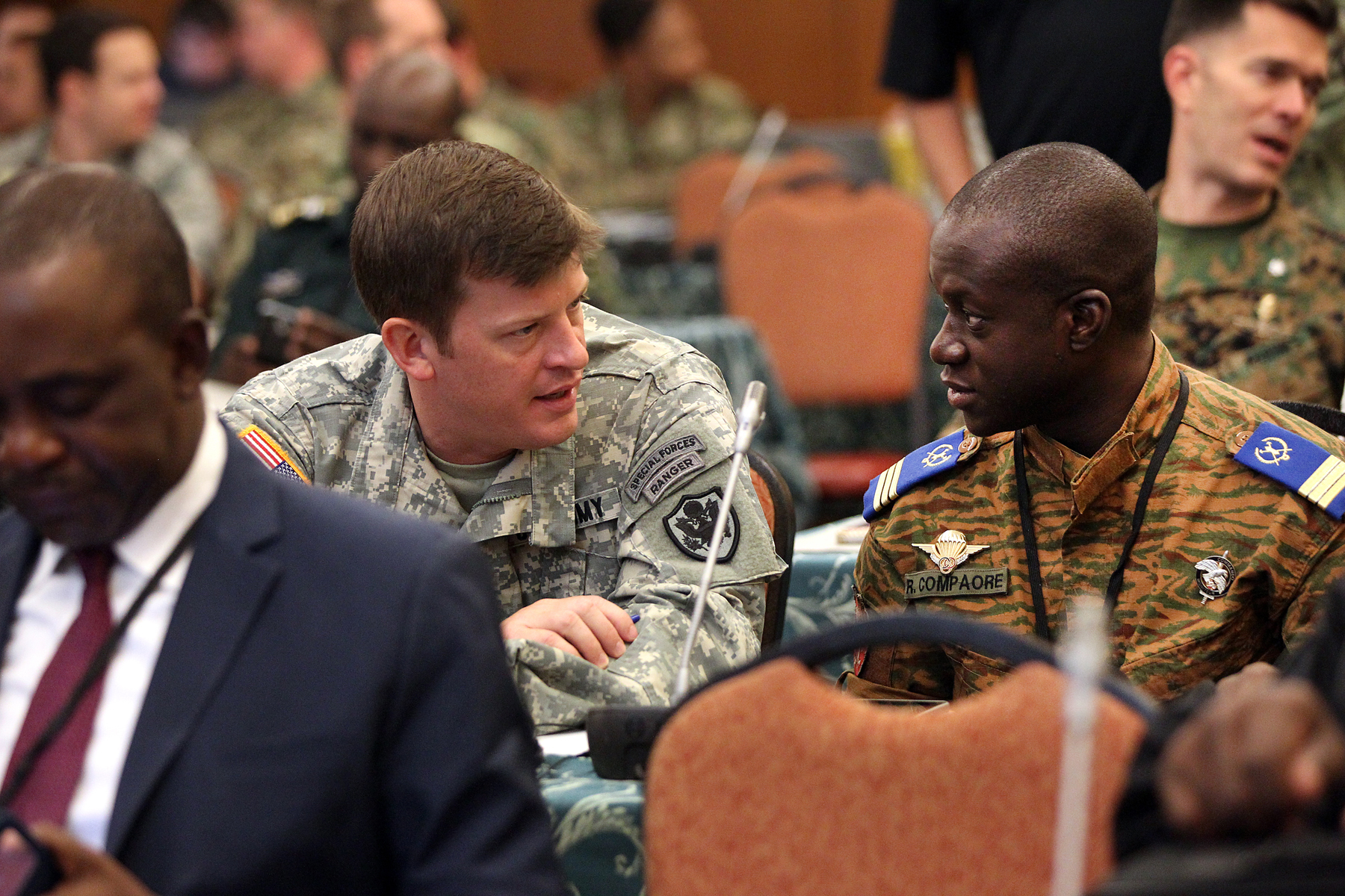 Special Operations Command - Africa participants share ideas during the SOCAFRICA Commander's Conference held in Garmisch, Germany from November 16 – 20. The Commander's Conference built on the lessons of the previous week when SOCAFRICA Forward commanders led regional breakout sessions to study threat groups and understand the challenges facing African militaries. (Special Operations Command Africa photo by Sgt. 1st Class Anthony L. Taylor/Released)