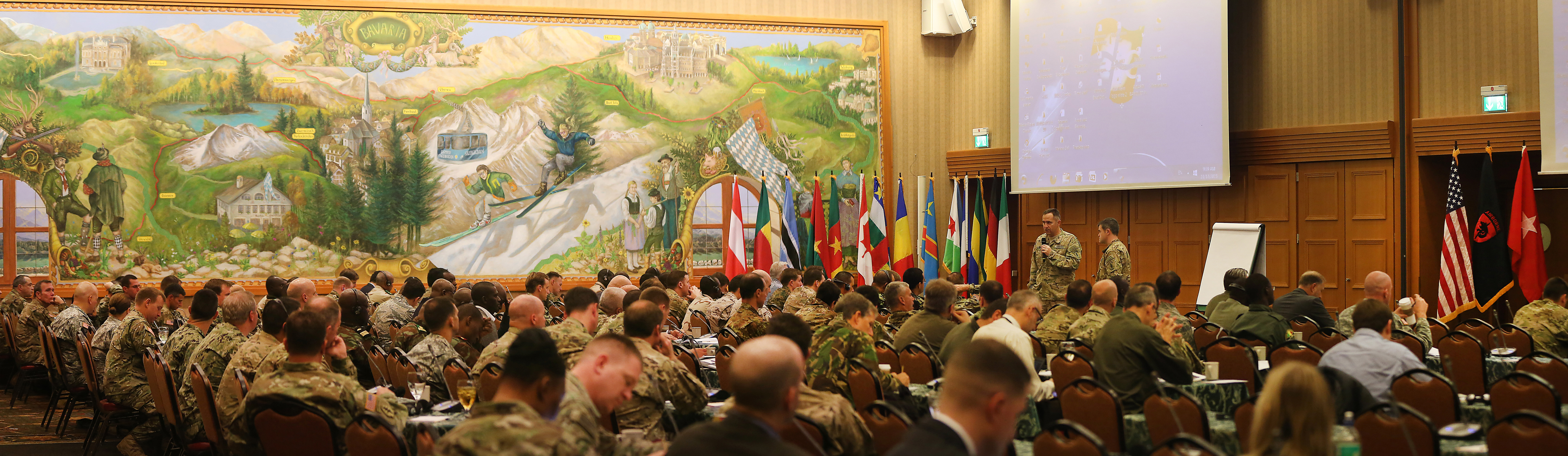 SOCAFRICA Commander's Conference attendees participate in the North and West Africa Way-Forward Brief on November 17, at Garmisch, Germany. More than 230 Special Operations Forces and Interagency partners from across Africa and Europe met over two weeks to discuss the future of SOF cooperation in Africa. (Special Operations Command Africa photo by Sgt. 1st Class Anthony L. Taylor/Released)