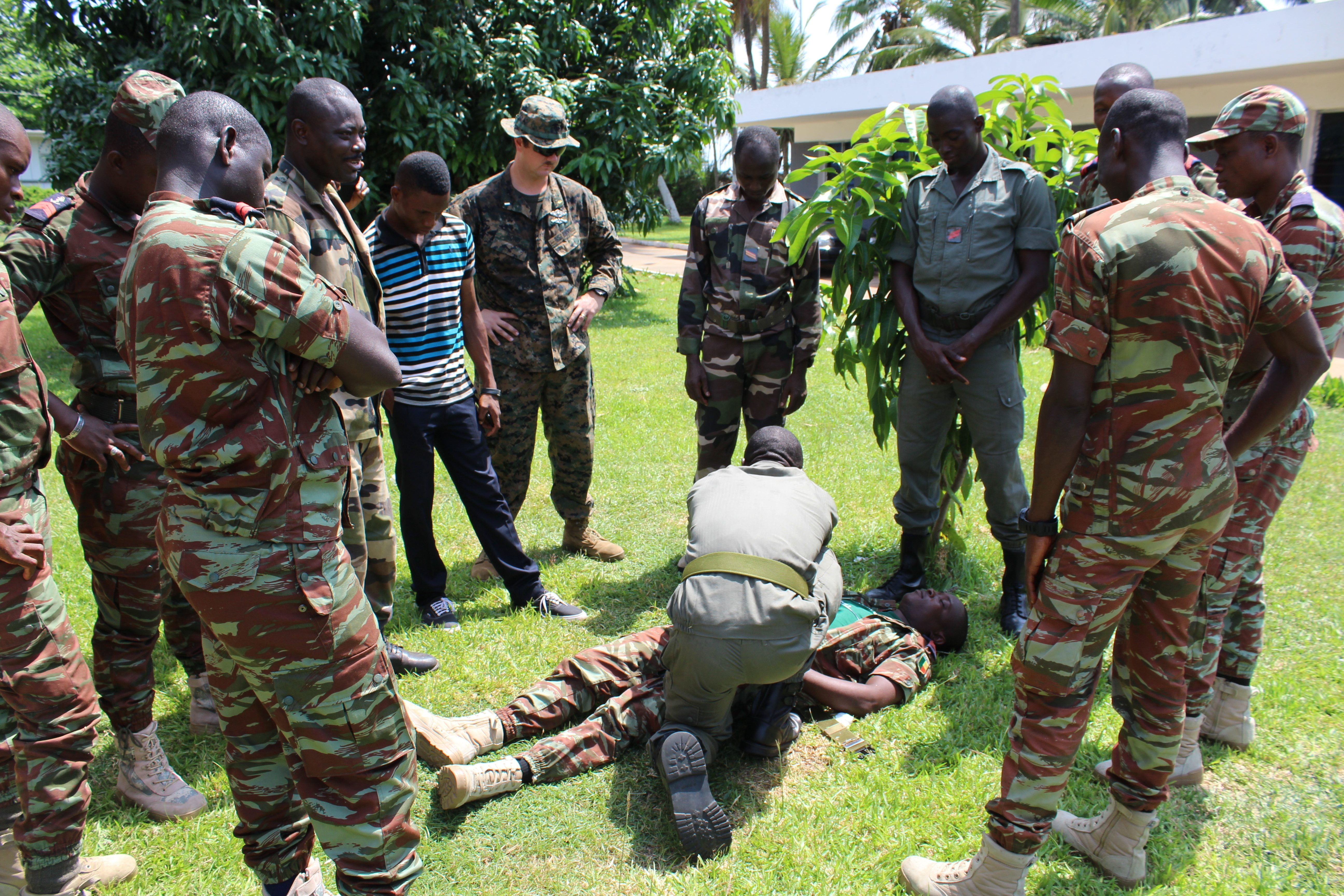 U.S. Marines and sailors teach Togolese and Beninese sailors combat lifesaver medical training, Nov. 3, in Lome, Togo. U.S. Marines and U.K. Royal Marine Commandos trained the Togolese and Beninese sailors as part of the Africa Partnership Station, which is a U.S. Naval Forces Africa initiative that aims to increase the maritime safety and security capacity of African partners through collaboration and regional cooperation through engagement exercises that build toward self-sustained African security of the maritime domain.