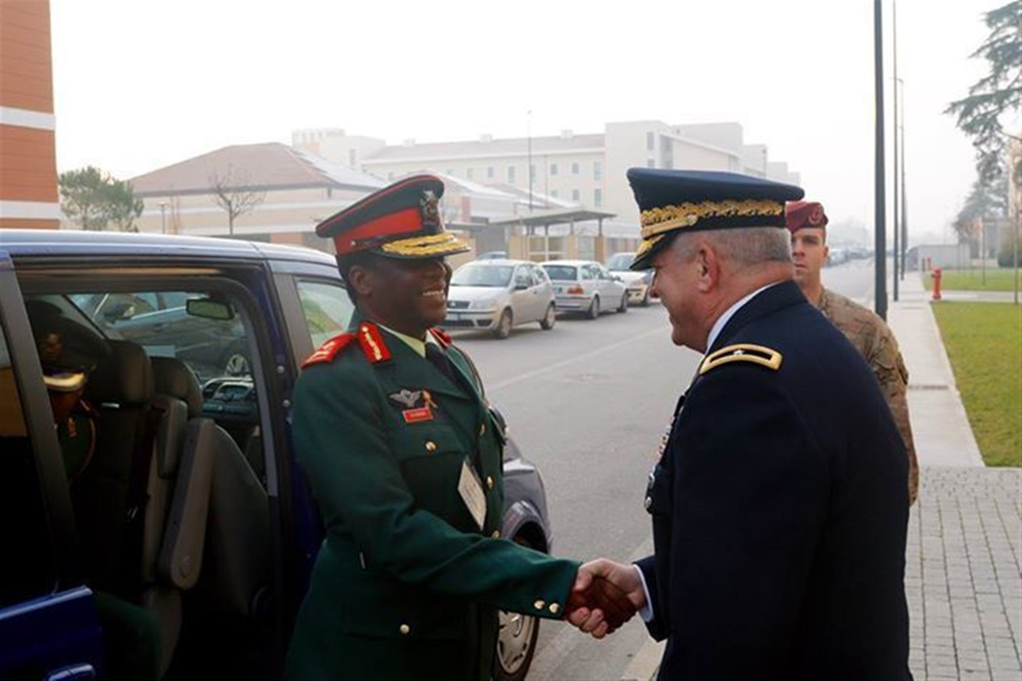 U.S. Army Africa Deputy Commanding General, Brig. Gen. Kenneth H. Moore, Jr. greets Botswana Commander, Maj. Gen. Molefi Seikano, during a command sponsored visit to Vicenza, Italy, Nov.30 to Dec. 3, 2015. The visit offer Seikano an opportunity to observe USARAF facilities and capabilities, as well as explore opportunities for future training and partnership. (U.S. Army Africa photo by Spc. Craig Philbrick)