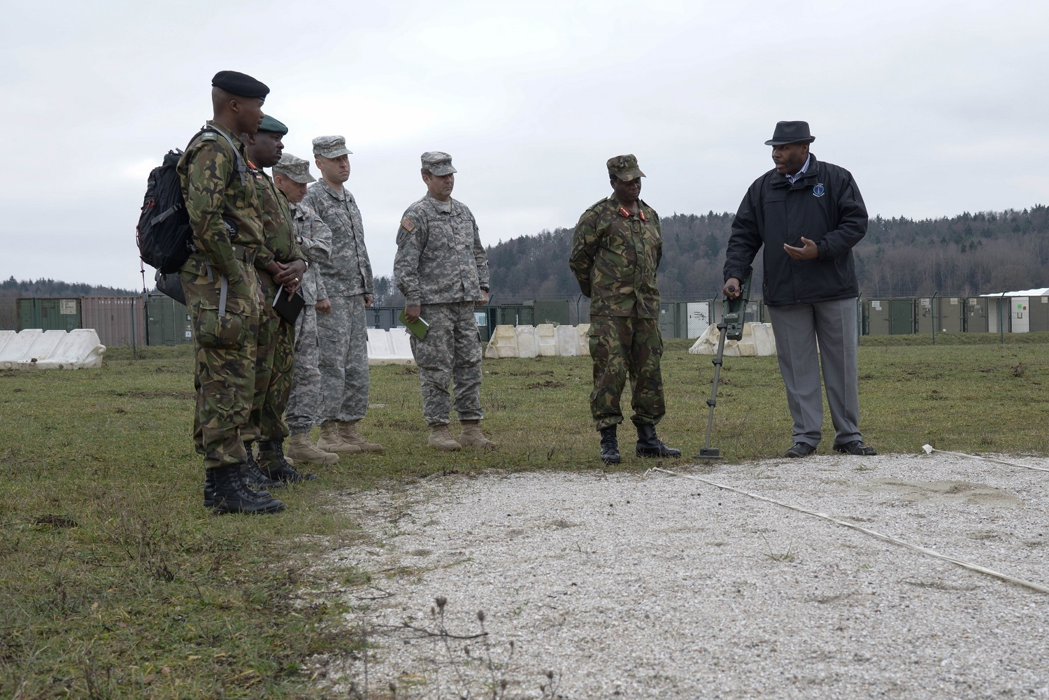 Members of the Botswana Defense Force receive instruction on detecting improvised explosive devices as part of a Counter IED brief during a U.S. Army Africa command sponsored visit to the Joint Multinational Readiness Center in Hohenfels, Germany, Dec. 3, 2015. The visit offered Botswana leadership an opportunity to observe JMTC facilities, as well as explore opportunities for future training and partnership. (U.S. Army photo by Spc. Nathanael Mercado)