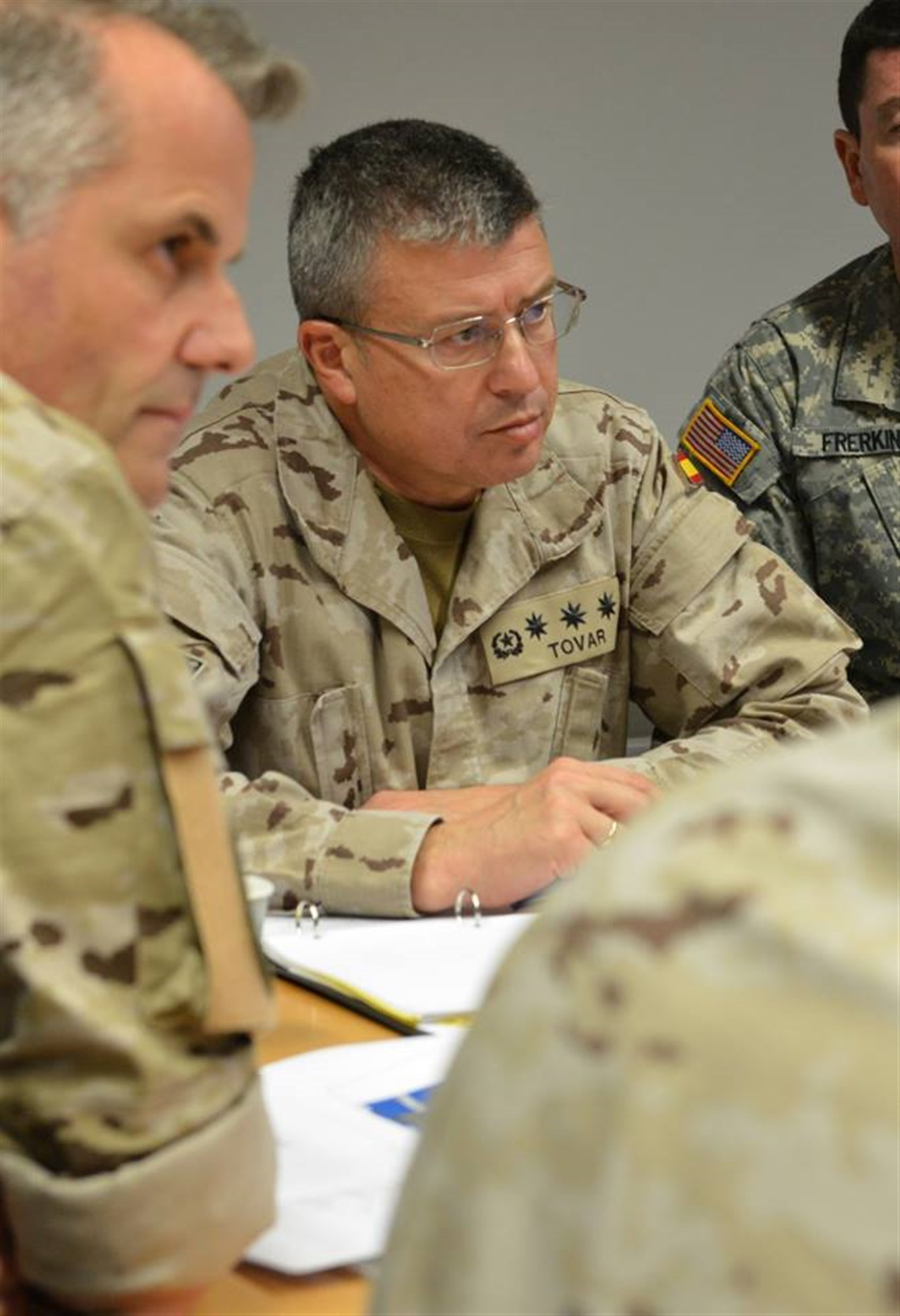 Col. Enrique Tovar, chief of plans for the Spanish Joint Operations Command, participates in a discussion at the U.S. Africa Command Multinational Cooperation Center in Stuttgart, Germany, Dec. 2, 2015.