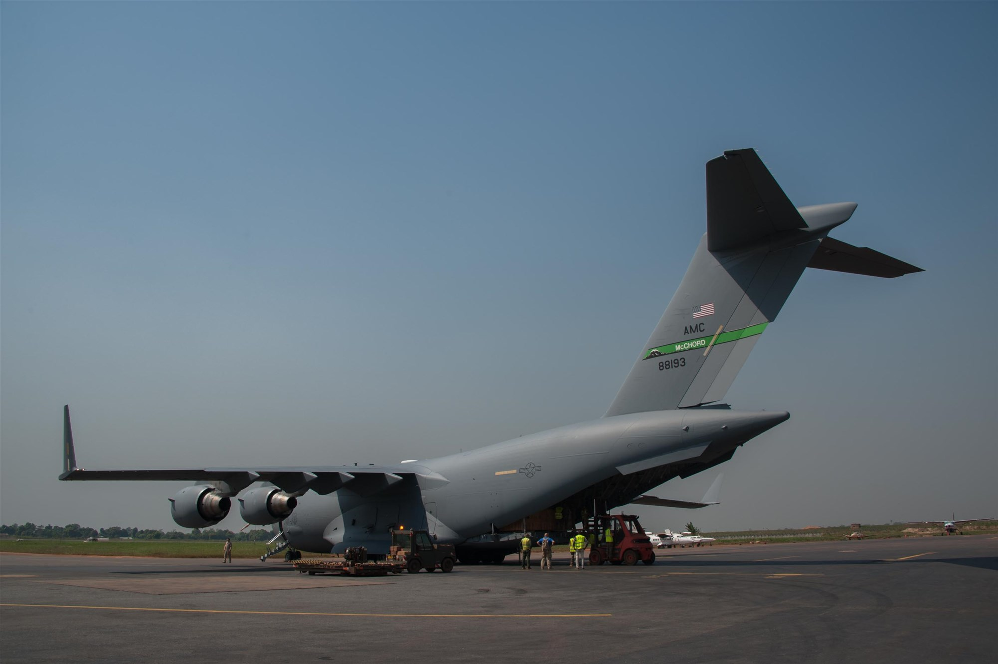 Strategic Lift: A U.S. C17 cargo plane arrives in Bangui, Central African Republic, Dec. 15, 2015. Both the U.S. and France provided military manpower in Libreville, Gabon, and the Central African Republic's capital, Bangui, to help with the loading/unloading and transport of equipment.  The result was the timely deployment of more than 450,000 pounds of vital equipment and vehicles for the Gabonese military. (Photo courtesy of French military, ADC Laminette/RELEASED)