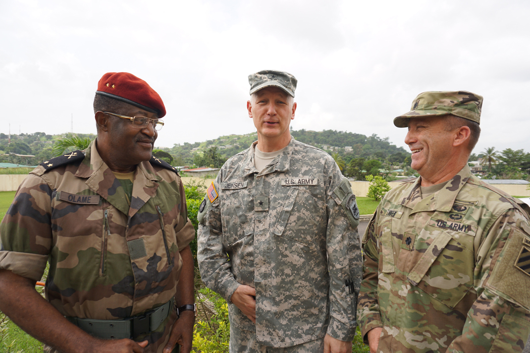 Brig. Gen. Ferdinand Gaspard Olame Ndong, deputy chief of the general staff of the Gabonese Armed Forces, Brig. Gen. Jon Jensen, U.S. Army Africa deputy commanding general, and Lt. Col. James Lander, deputy commanding officer of 2nd Brigade Combat Team, 3rd Infantry Division, welcomed military planners from 16 African and European nations to the main planning event for Central Accord 2016. Central Accord is an annual exercise that brings together partner nations to demonstrate mission command proficiency for a United Nations peacekeeping operation, improve multi-echelon operations and develop multinational logistical and communications capabilities.