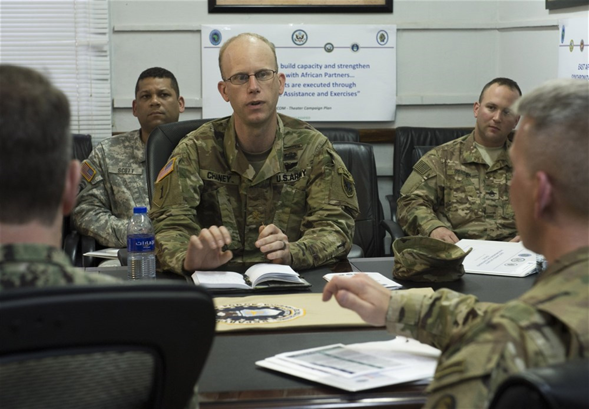 Military members in a working group discuss Africa Contingency Operations Training and Assistance during the East Africa Security Synchronization Conference Jan. 21, 2016, at Camp Lemonnier, Djibouti. More than 70 U.S. embassy representatives from each East African country and organizations including the African Union, U.S. Africa Command, and AFRICOM components attended the event to kick start the process of synchronizing and prioritizing all activities in East Africa.