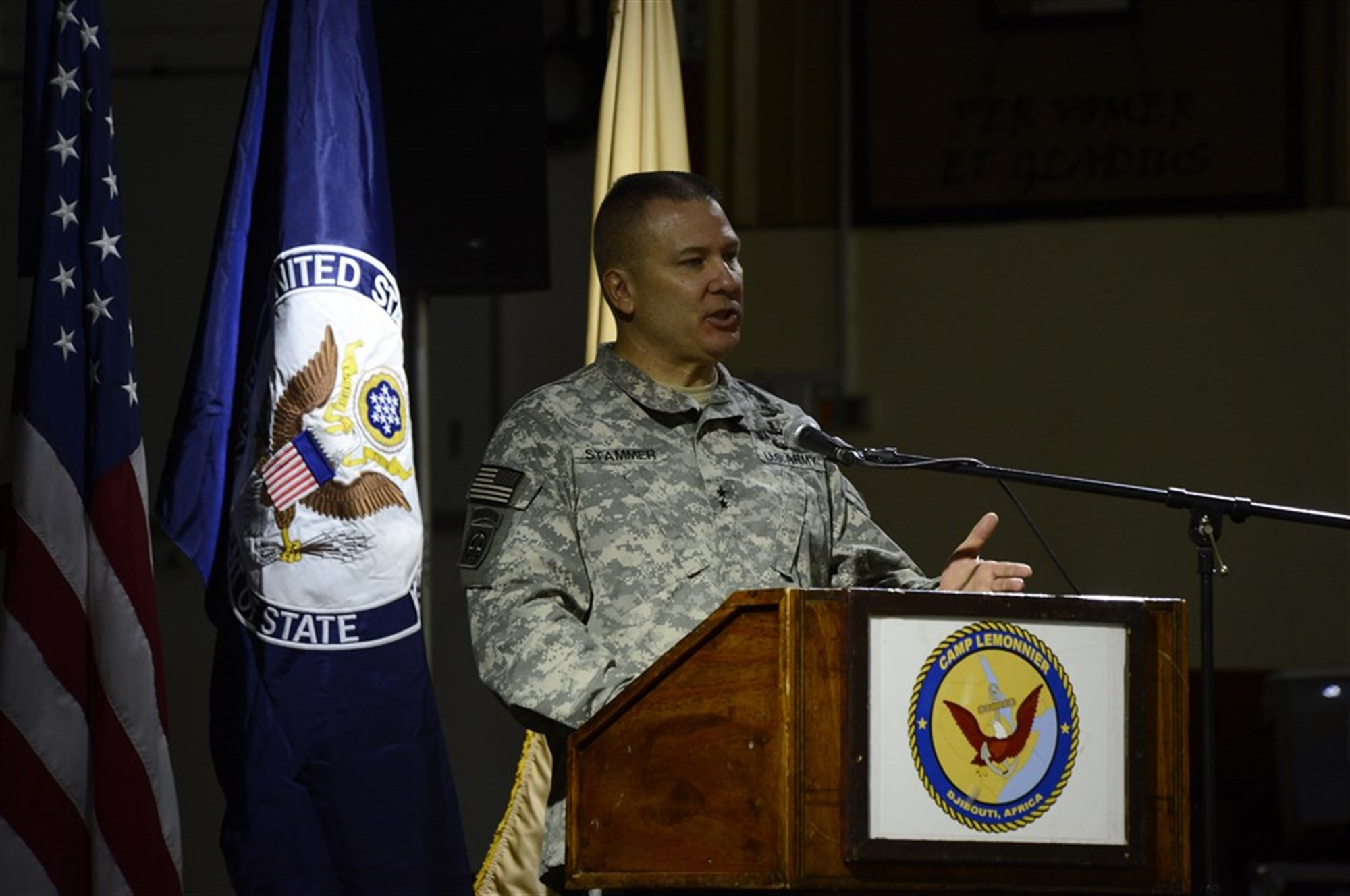 U.S. Army Maj. Gen. Mark Stammer, Combined Joint Task Force-Horn of Africa commanding general, speaks to attendees at the conclusion of the East Africa Security Synchronization Conference Jan. 22, 2016, at Camp Lemonnier, Djibouti. The conference provided an opportunity for attendees to better understand the benefits of a regional approach to African security instead of strictly country-focused planning.