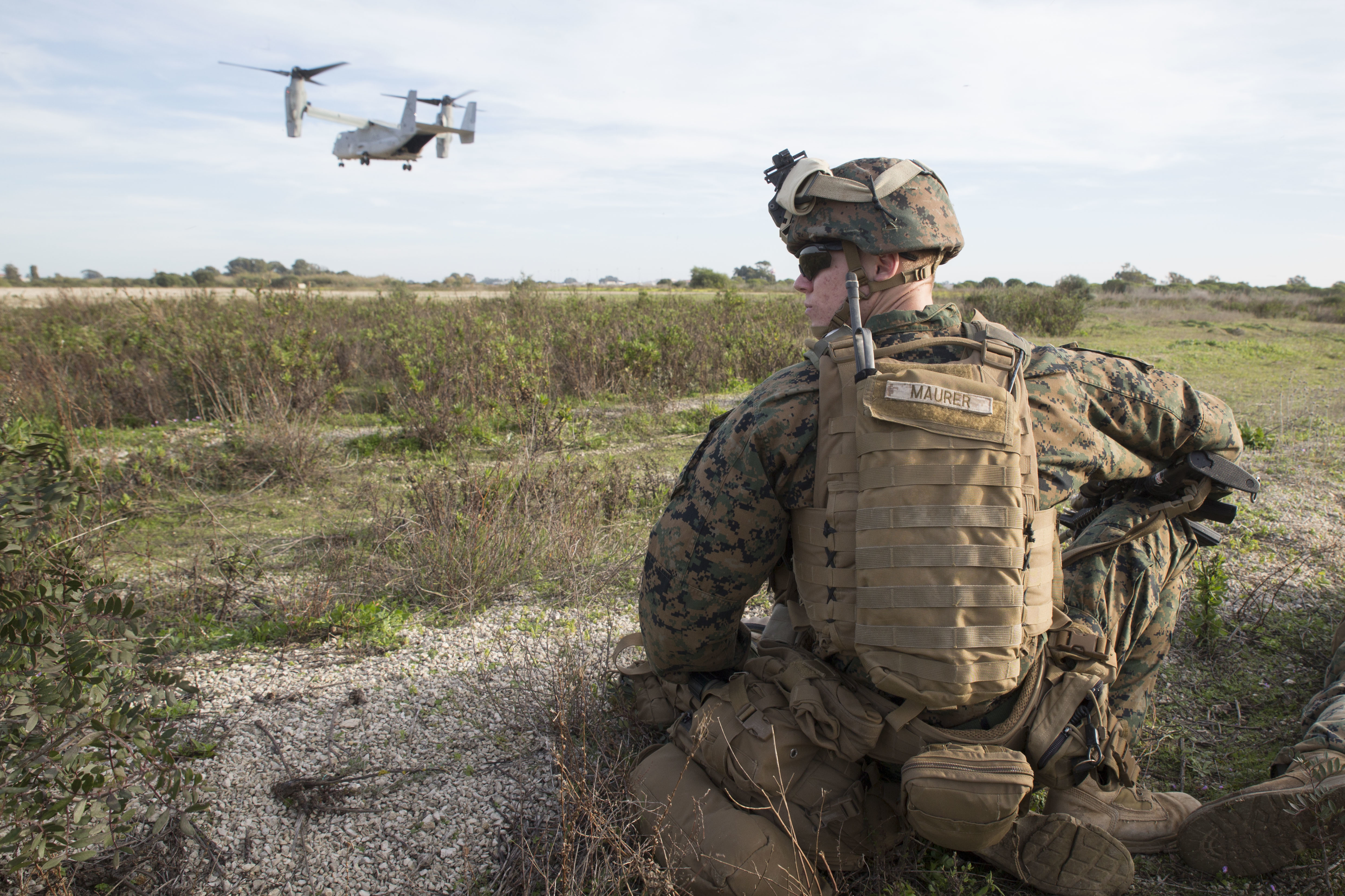 U.S. Marine Cpl. Kyle Maurer, machine gunner with Special-Purpose Marine Air-Ground Task Force Crisis Response-Africa, participates in an alert-force drill aboard Naval Station Rota, Spain, January 23, 2016. The alert force tested the unit's capabilities by simulating the procedures of reacting to a time-constrained, crisis-response mission. (U.S. Marine Corps photo by Sgt. Tia Nagle)