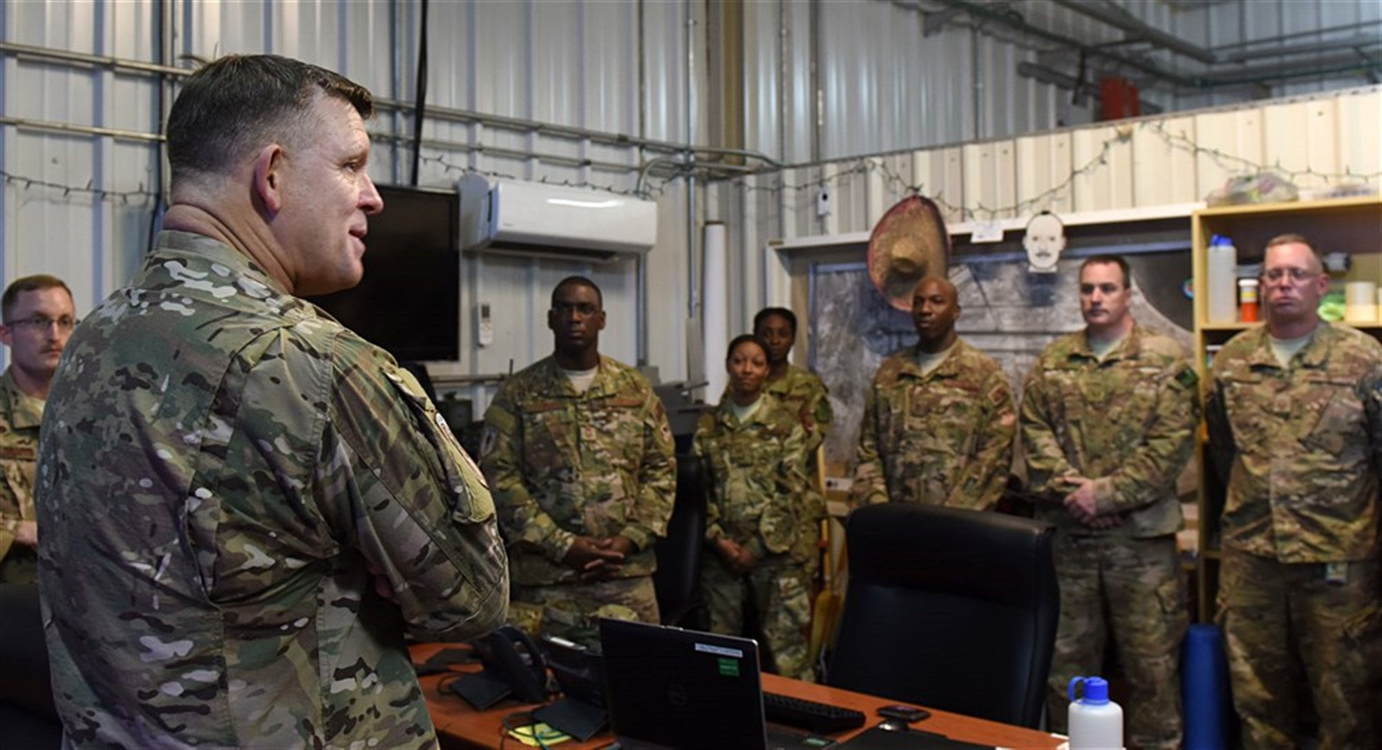 Gen. Frank Gorenc, U.S. Air Forces in Europe and Air Forces Africa commander, speaks with Airmen at Camp Lemonnier, Djibouti, Feb. 2, 2016. His goals were to see how the mission is going, solicit feedback on future plans, and learn more about the Airmen accomplishing the mission here. (U.S. Air Force photo by Staff Sgt. Kate Thornton)