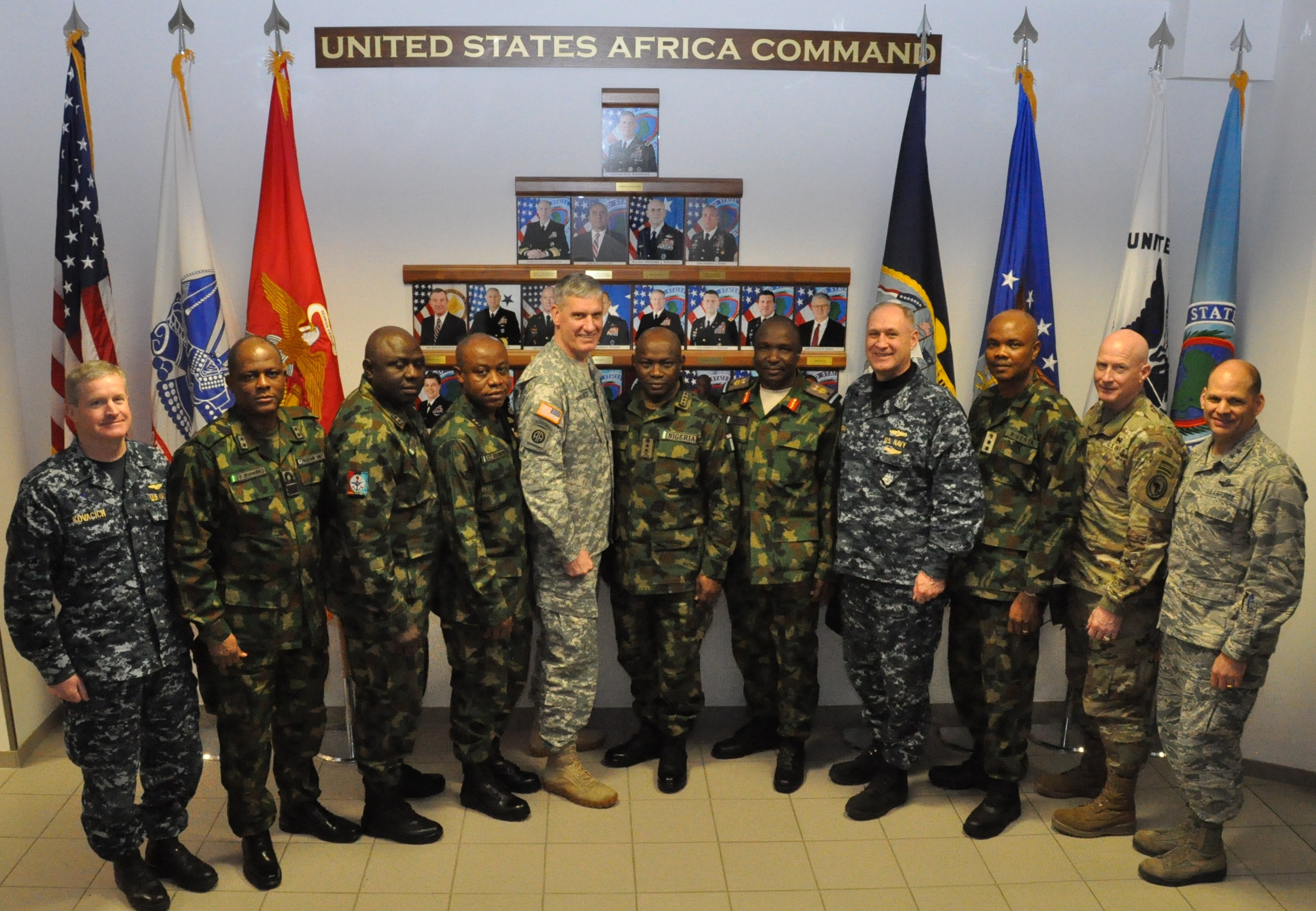 Gen. David Rodriguez, commander, U.S. Africa Command (5th from left) and Gen. Abayomi Olonisakin, Nigeria chief of defence staff (6th from right) pose with select senior staff from AFRICOM and the Nigerian military.  The Nigerians were invited to participate in a two-day meeting with senior AFRICOM commanders and leaders. The purpose of the visit was to reinforce the importance of a strong US-Nigeria security cooperation relationship, with topics focused on ways to counter terrorism, joint operations, logistics and maritime security in the Gulf of Guinea, Feb. 9, 2016, U.S. Army Garrison Stuttgart, Germany. (Photo by Brenda Law, U.S. Africa Command Public Affairs/RELEASED)