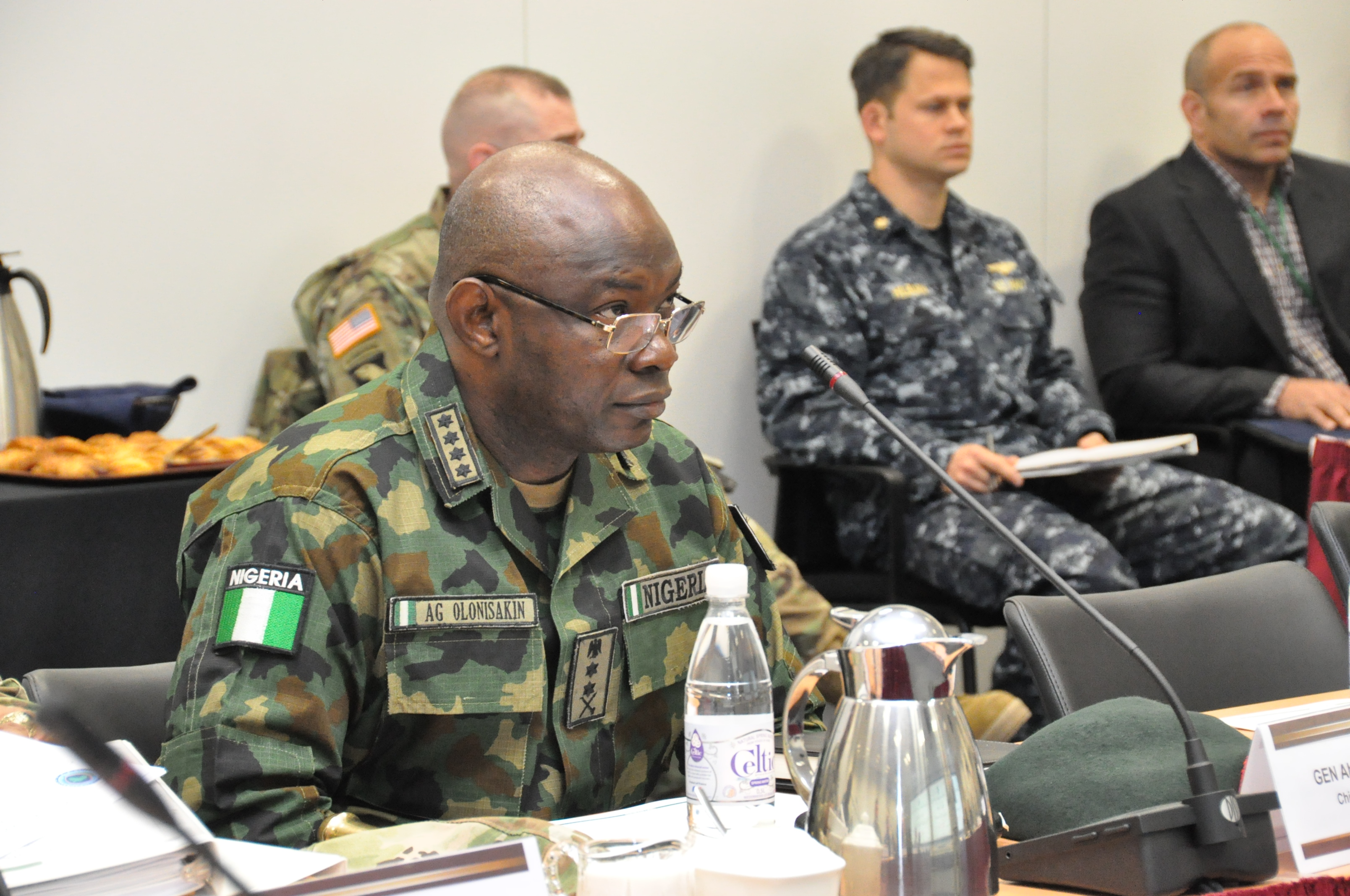 Gen. Abayomi Olonisakin, Nigeria chief of defence staff, listens as Gen. David Rodriguez, commander, U.S. Africa Command delivers opening remarks for a two-day meeting with senior AFRICOM commanders and leaders. The purpose of the visit was to reinforce the importance of a strong US-Nigeria security cooperation relationship, with topics focused on ways to counter terrorism, joint operations, logistics and maritime security in the Gulf of Guinea, Feb. 9, 2016, U.S. Army Garrison Stuttgart, Germany. (Photo by Brenda Law, U.S. Africa Command Public Affairs/RELEASED)