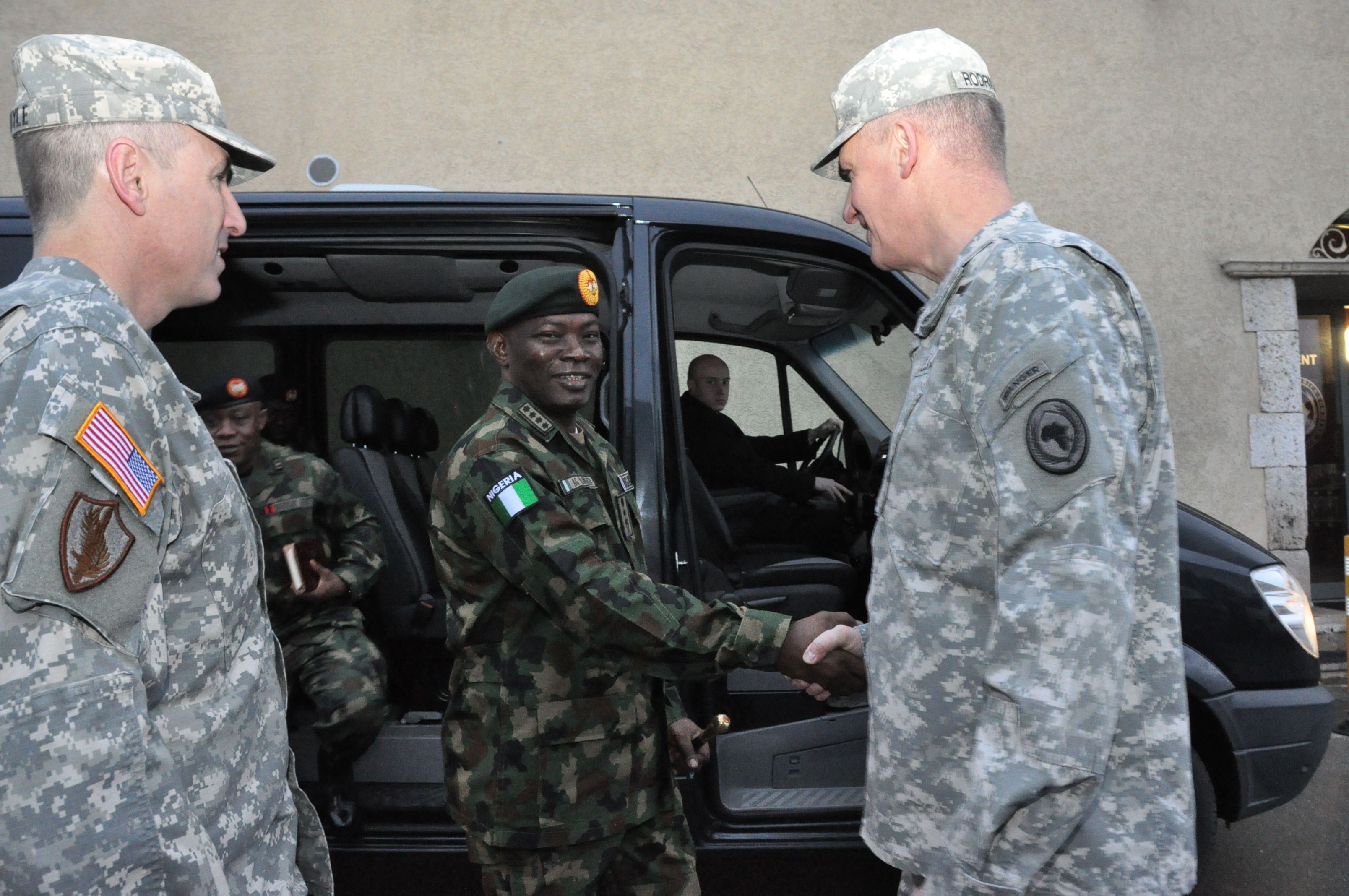 Gen. Abayomi Olonisakin, Nigeria CDS, is greeted by Gen. David Rodriguez, commander, U.S. Africa Command as he arrives for a two-day meeting with senior AFRICOM commanders and leaders. The purpose of the visit was to reinforce the importance of a strong US-Nigeria security cooperation relationship. Gen. Olonisakin and several of his most senior officers engaged in topics on counter terrorism, joint operations, logistics, and maritime security in the Gulf of Guinea, Feb. 9, 2016, U.S. Army Garrison Stuttgart, Germany. (Photo by Brenda Law, U.S. Africa Command Public Affairs/RELEASED)