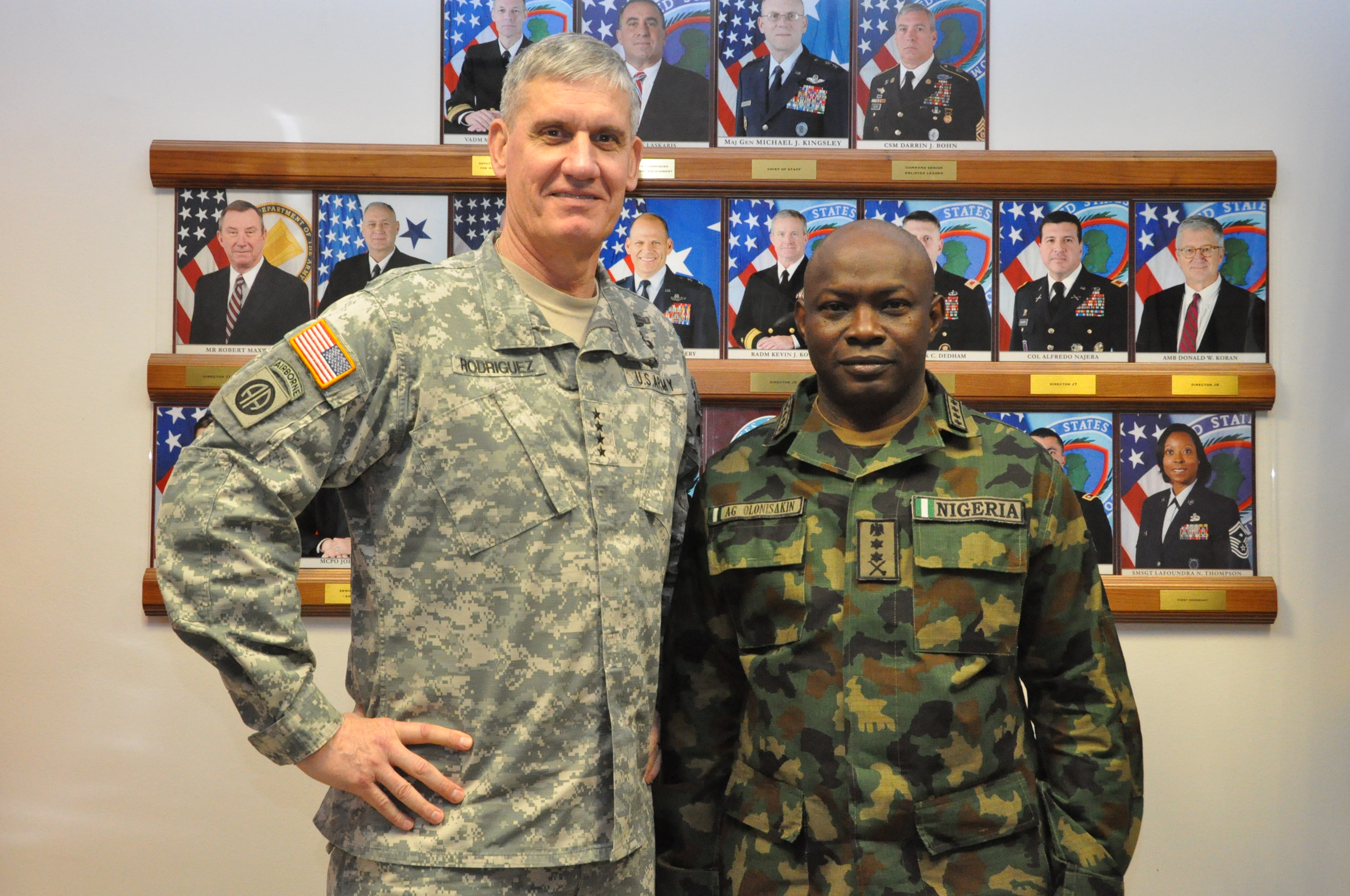 Nigeria Chief of Defence Staff, Gen. Abayomi Olonisakin (right) and the Commander, U.S. Africa Command, Gen. David Rodriguez, pose for a photo.  AFRICOM hosted a two-day meeting that brought together the component commanders and several senior members of the Nigerian military.  The purpose of the visit was to reinforce the importance of a strong US-Nigeria security cooperation relationship, with topics focused on ways to counter terrorism, joint operations, logistics and maritime security in the Gulf of Guinea, Feb. 9, 2016, U.S. Army Garrison Stuttgart, Germany. (Photo by Brenda Law, U.S. Africa Command Public Affairs/RELEASED)