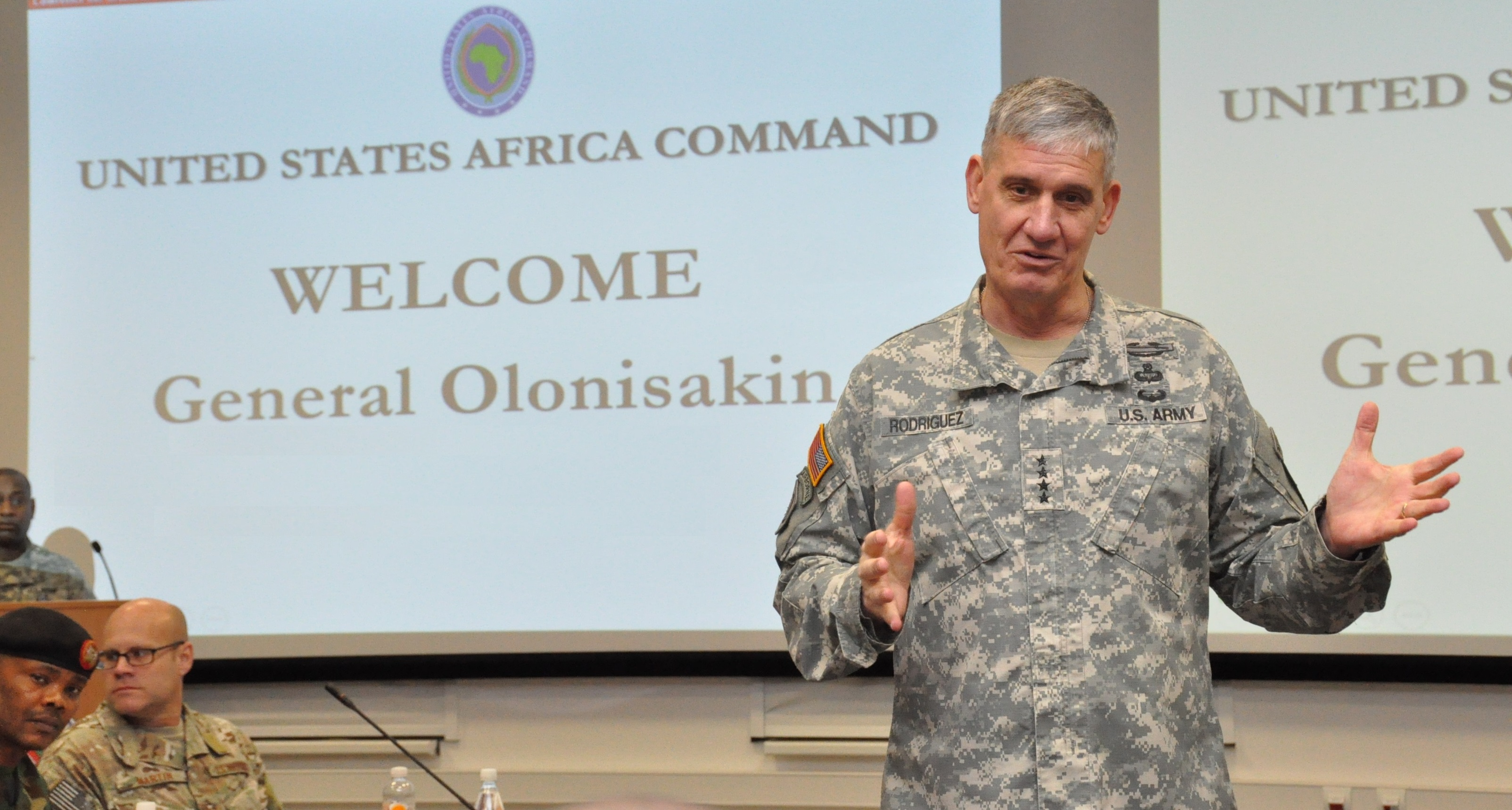 Gen. David Rodriguez, commander, U.S. Africa Command delivers opening remarks for a two-day meeting with Gen. Abayomi Olonisakin, Nigeria CDS, and several of his most senior officers.  The purpose of the visit was to reinforce the importance of a strong US-Nigeria security cooperation relationship, with topics focused on ways to counter terrorism, joint operations, logistics and maritime security in the Gulf of Guinea, Feb. 9, 2016, U.S. Army Garrison Stuttgart, Germany. (Photo by Brenda Law, U.S. Africa Command Public Affairs/RELEASED)