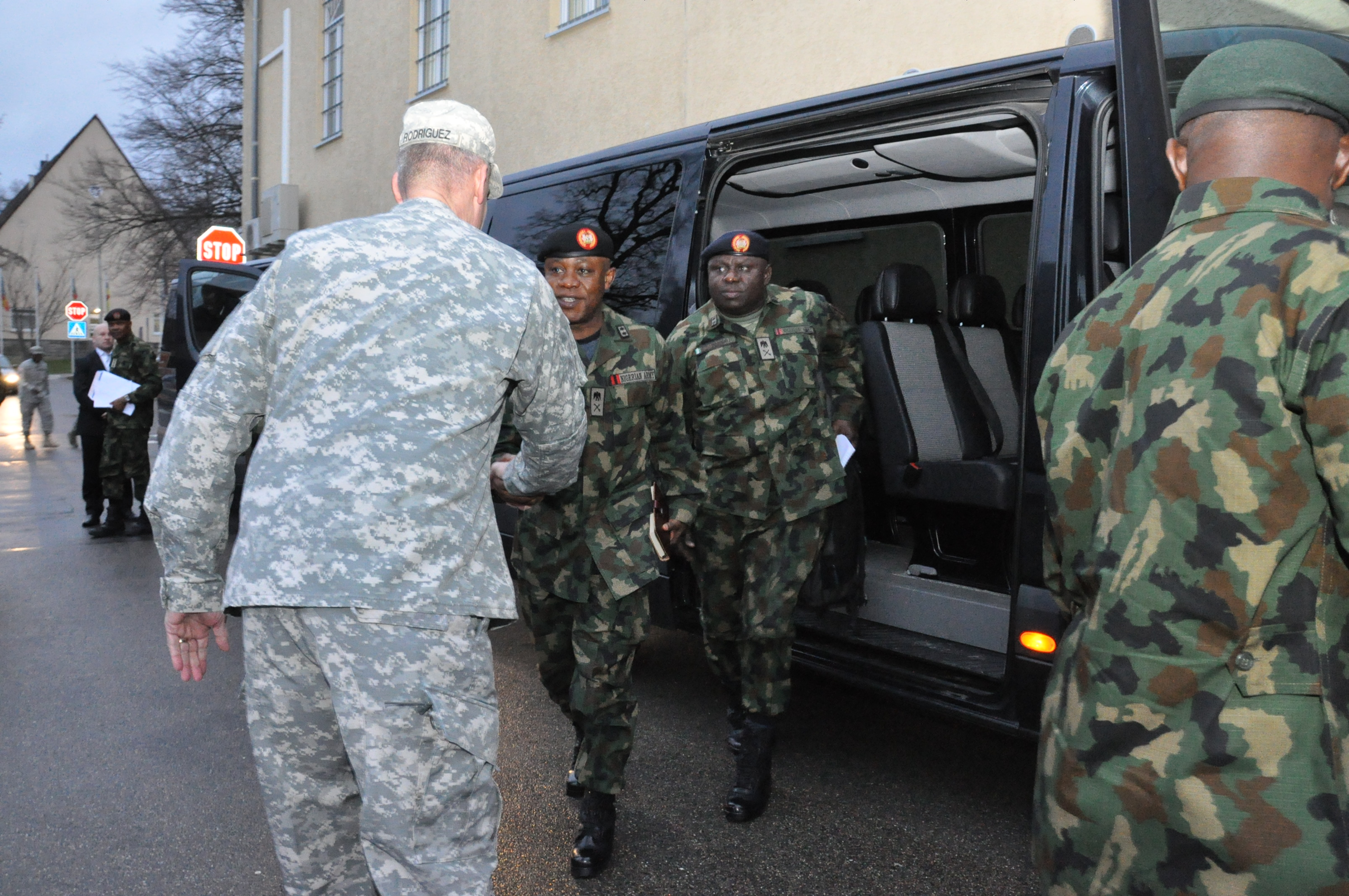 Gen. David Rodriguez, commander, U.S. Africa Command greets senior Nigerian officers as they arrive for a two-day meeting with senior AFRICOM commanders and leaders. The purpose of the visit was to reinforce the importance of a strong US-Nigeria security cooperation relationship, with topics focused on ways to counter terrorism, joint operations, logistics and maritime security in the Gulf of Guinea, Feb. 9, 2016, U.S. Army Garrison Stuttgart, Germany. (Photo by Brenda Law, U.S. Africa Command Public Affairs/RELEASED)
