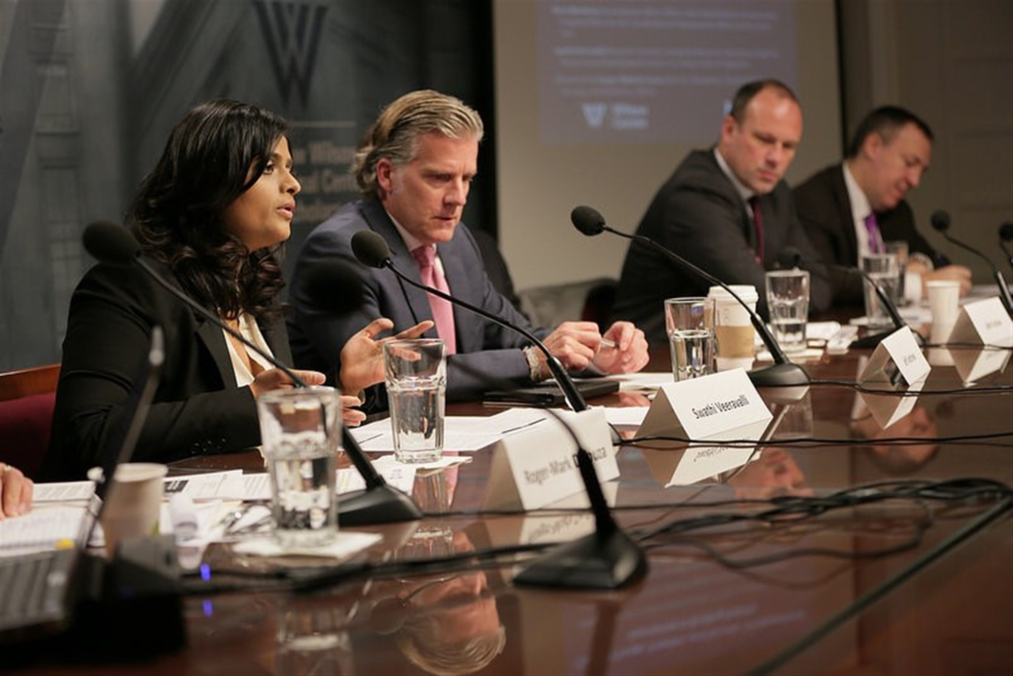 Swathi Veeravalli, Geospatial Research Laboratory, Jeff Andrews, chief of AFRICOM Environmental Security,  Rene Nijenhuis, Joint United Nations Environment Program/Office for the Coordination of Humanitarian Affairs, Carl Bruch, Environmental Law Institute.   Photo courtesy of Wilson Center.