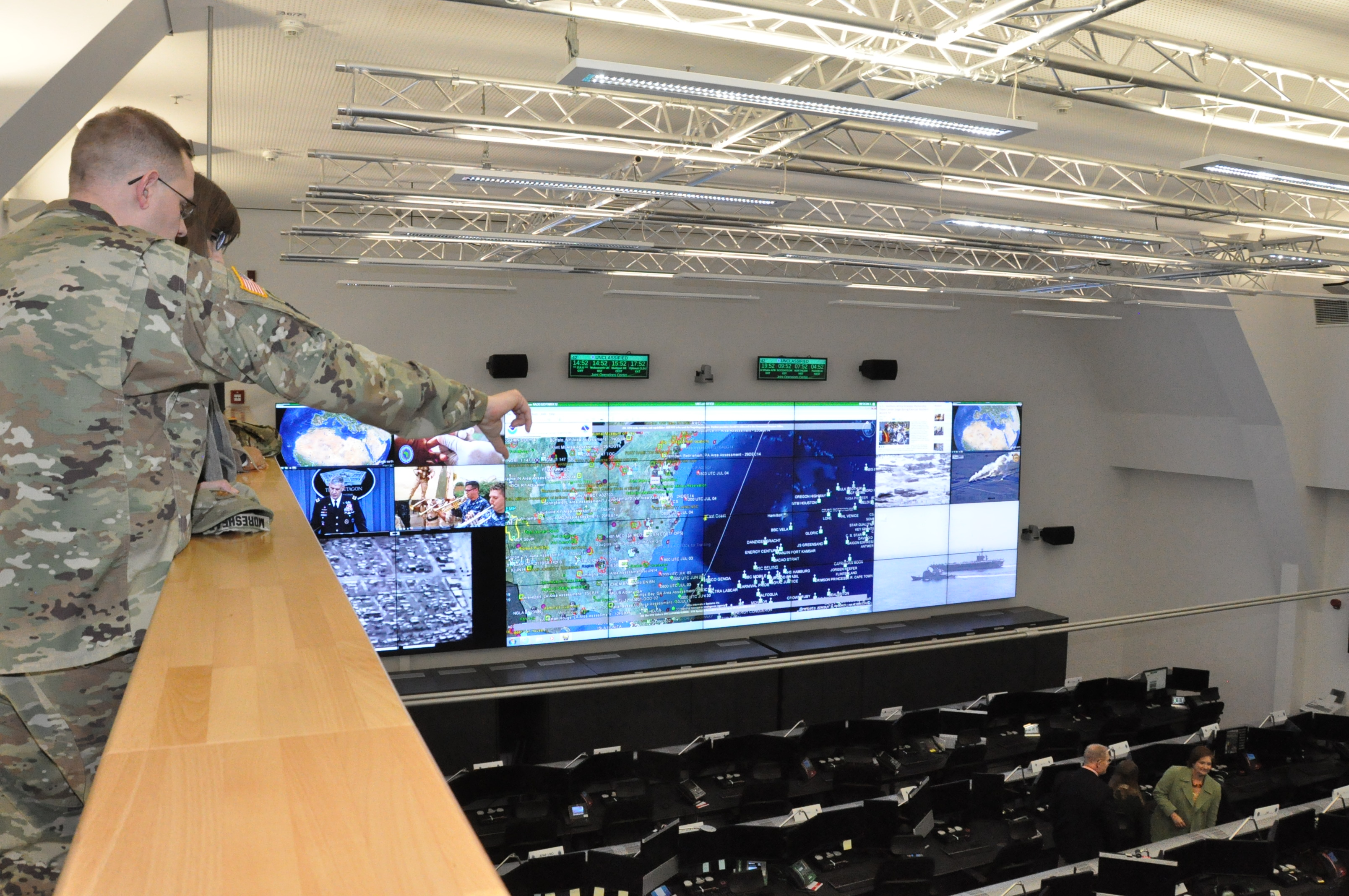 From the catwalk – AFRICOM staff get a bird's eye view inside AFRICOM's new joint operations center during open house event, Feb. 5, 2016, U.S. Army Garrison Stuttgart, Germany. (U.S. Africa Command photo by Brenda Law/RELEASED)