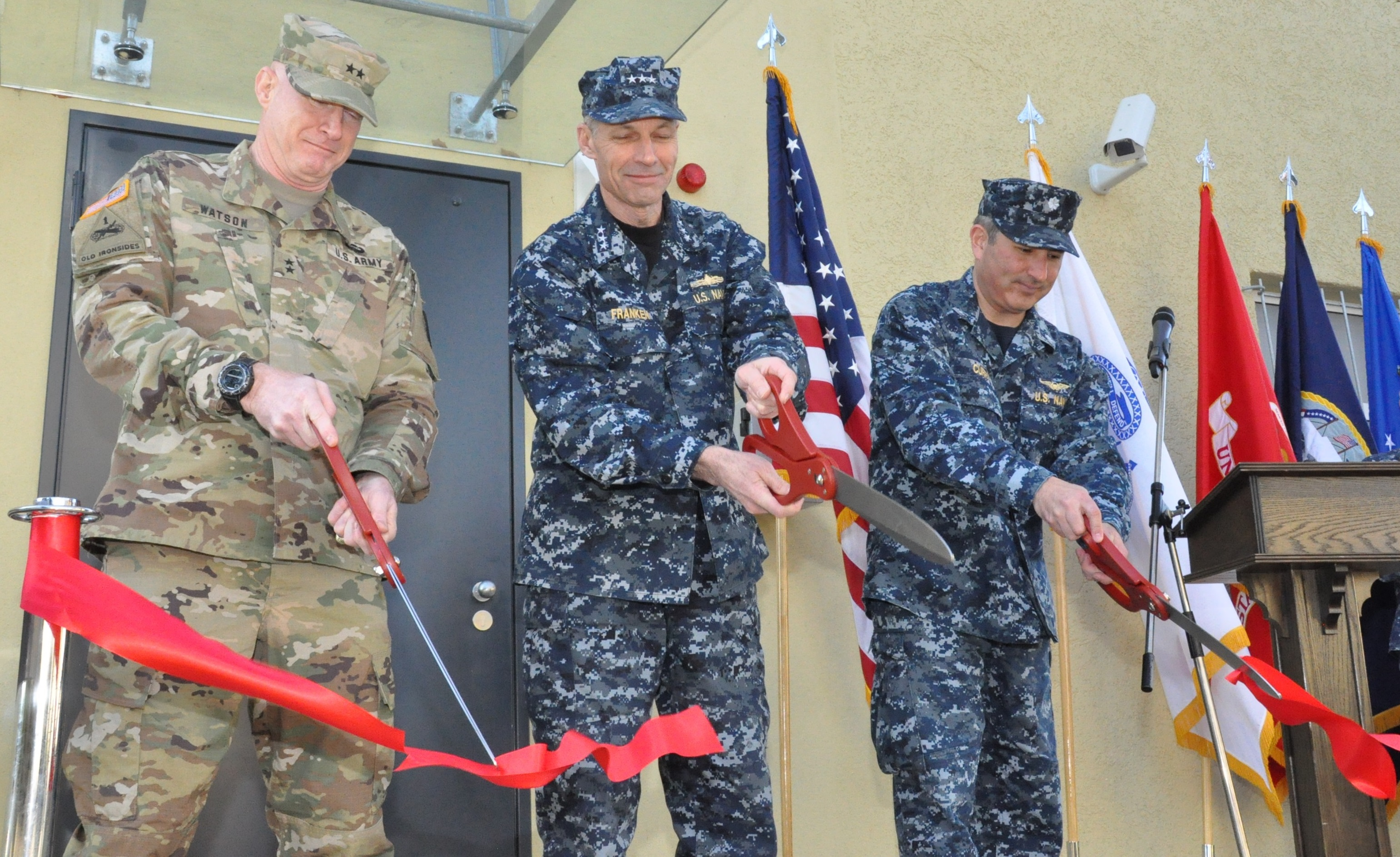 Ribbon cutting – (l-r) AFRICOM's Director of Operations (J3), U.S. Army Maj. Gen. Bryan Watson, Deputy to the Commander for Military Operations, U.S. Navy Vice Adm. Michael Franken, and JOC Chief, U.S. Navy Cdr. Tim Curry, cut the ribbon to an open house event for the new AFRICOM joint operations center, Feb. 5, 2016, U.S. Army Garrison Stuttgart, Germany. (U.S. Africa Command photo by Brenda Law/RELEASED)