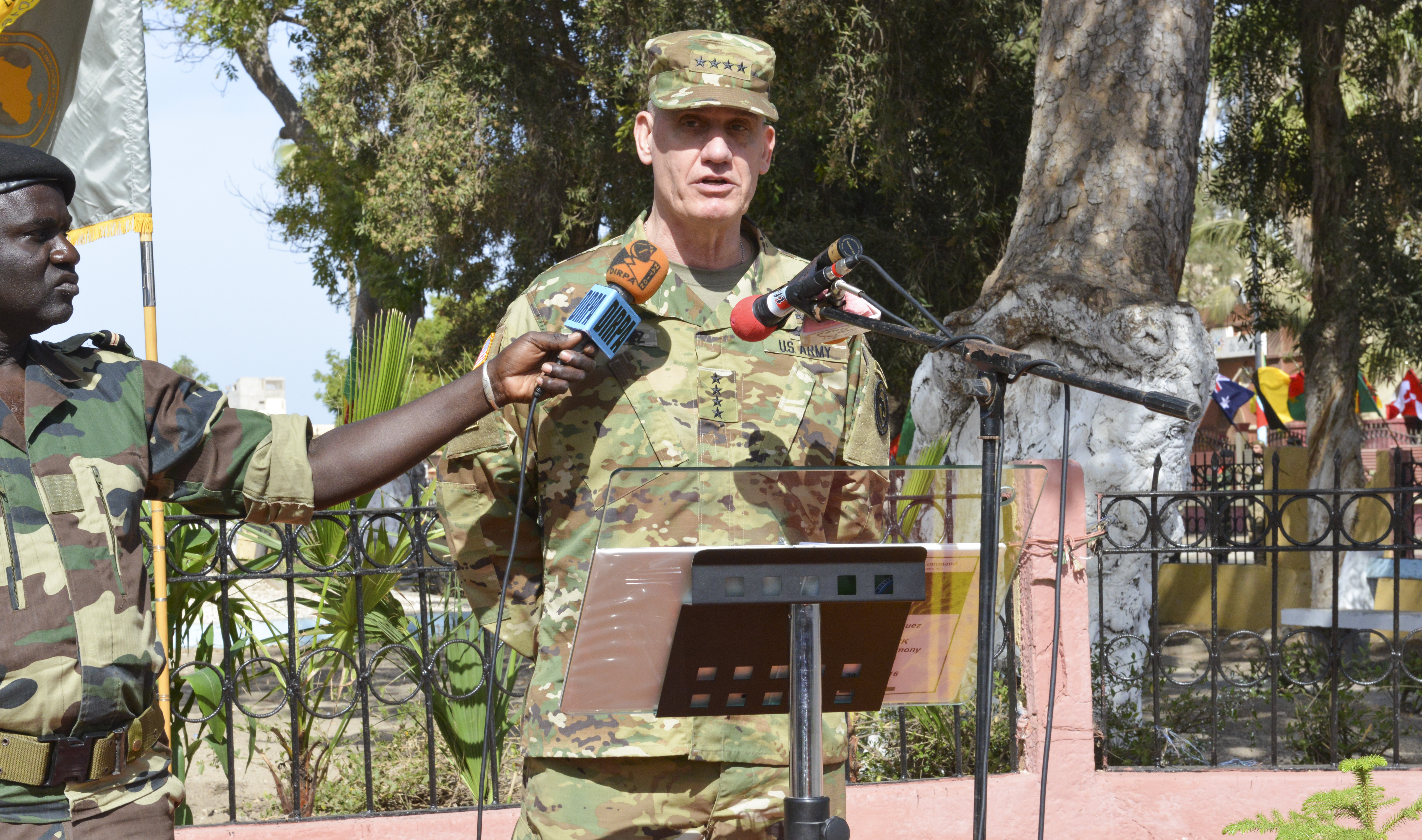 U.S. Army Gen. David Rodriguez, commander of U.S. Africa Command, speaks during the closing ceremony for Flintlock 2016 in St. Louis, Senegal, Feb. 29, 2016. Flintlock 2016, sponsored by AFRICOM, involved more than 2,200 participants from 28 African, European and North American partner nations. (Photo by U.S. Army Staff Sgt. Christopher Klutts, U.S. Africa Command)