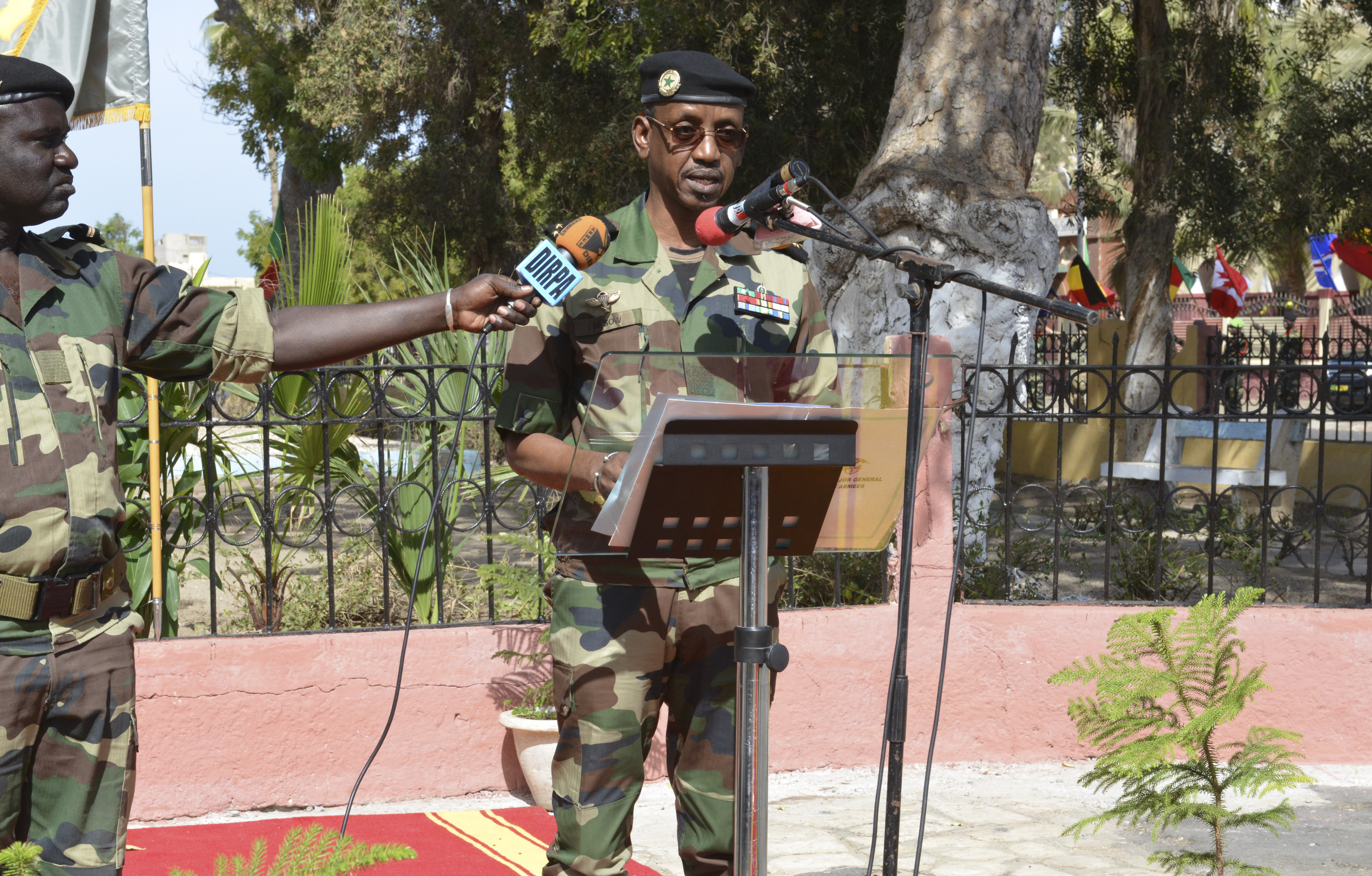 Senegal Army Maj. Gen. Mamadou Sow, chief of general staff, speaks during the closing ceremony for Flintlock 2016 in St. Louis, Senegal, Feb. 29, 2016. This year's exercise was the tenth iteration of Flintlock and the third hosted by Senegal.  (Photo by U.S. Army Staff Sgt. Christopher Klutts, U.S. Africa Command)