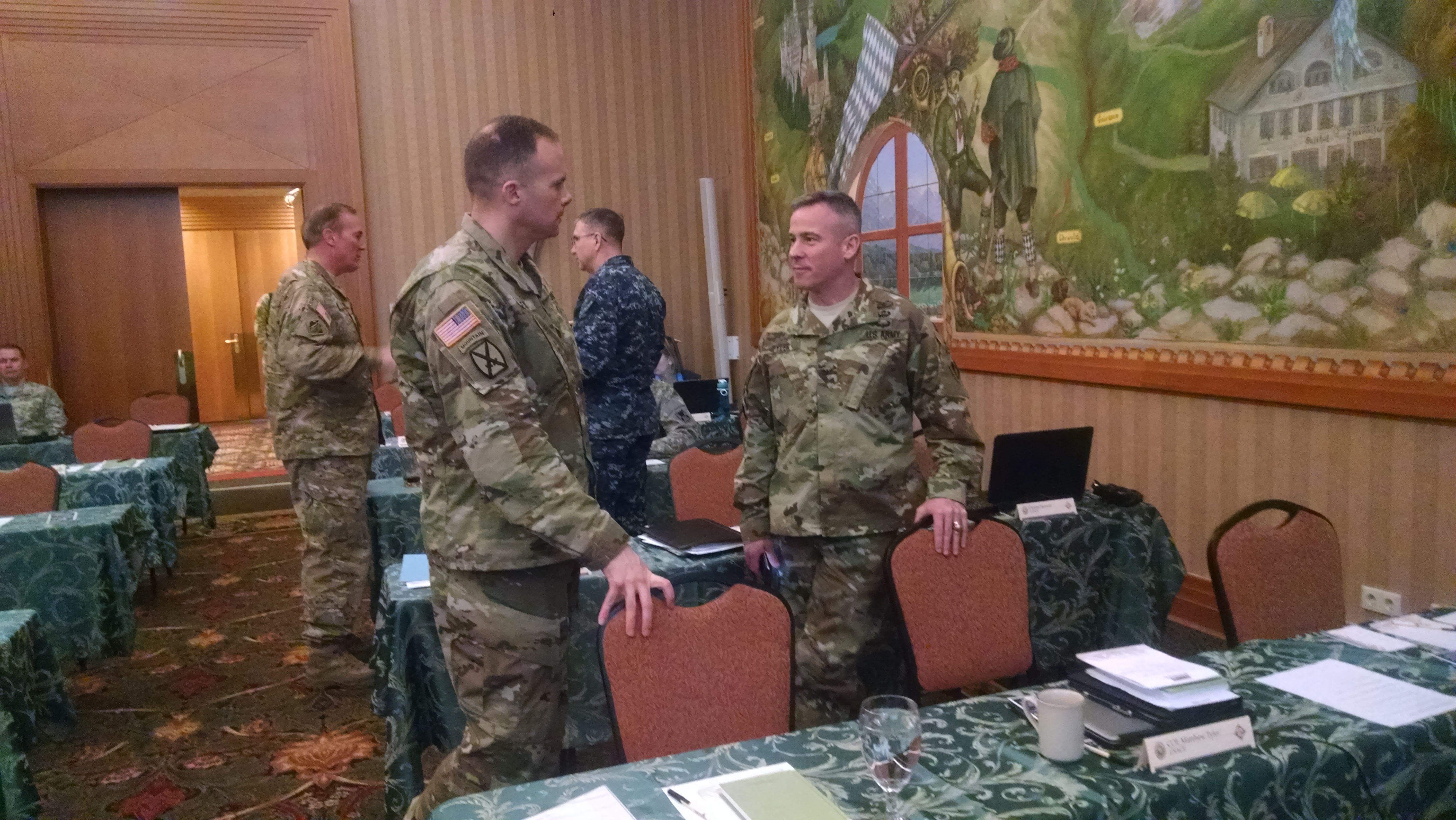Col. Matthew Tyler, U.S. Army Corps of Engineers, Europe District commander discusses engineering planning during a breakout session.