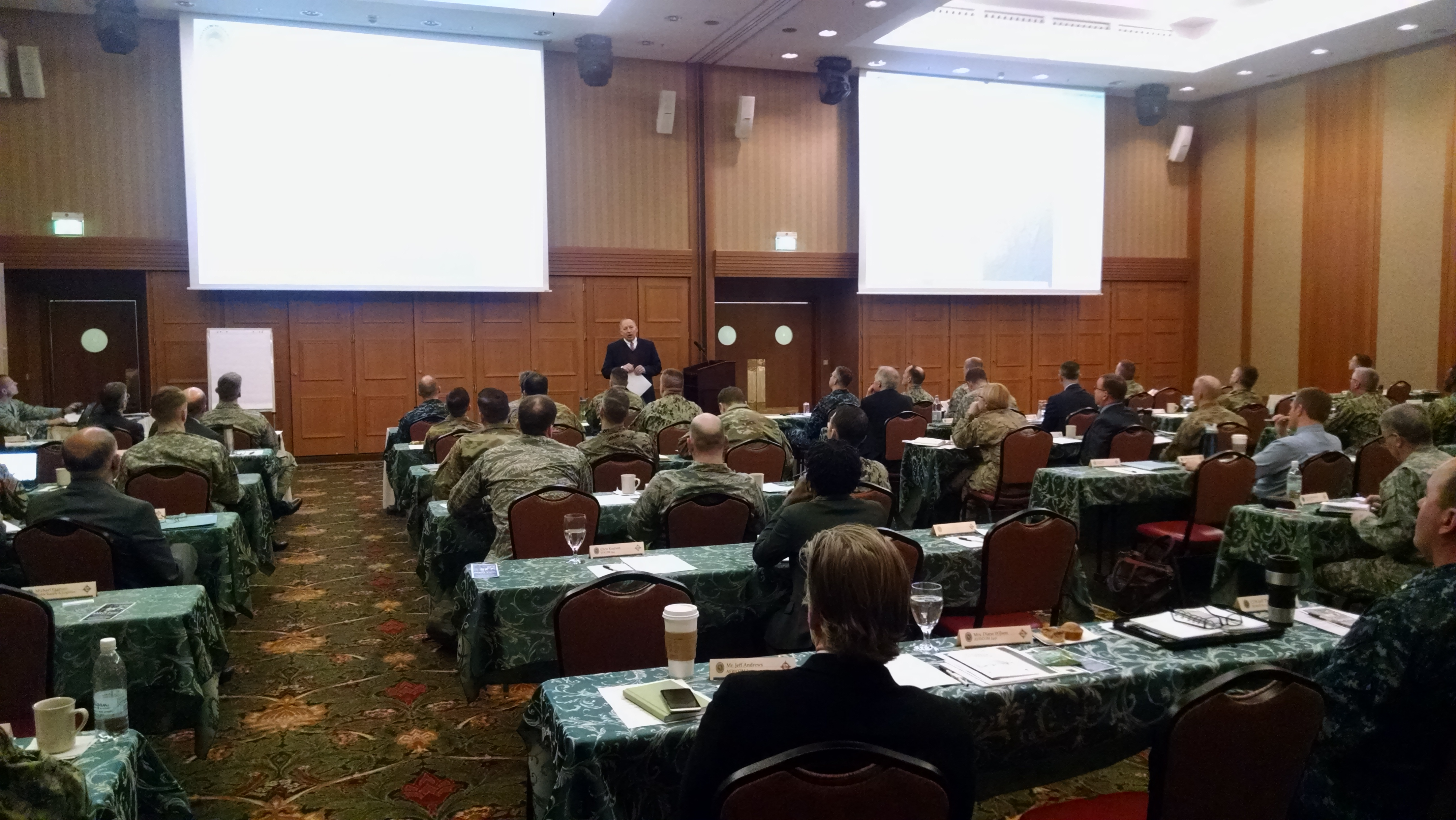 Dave King, AFRICOM Theater Posture J5-98, speaks to engineer workshop participants about the AFRICOM theater posture.