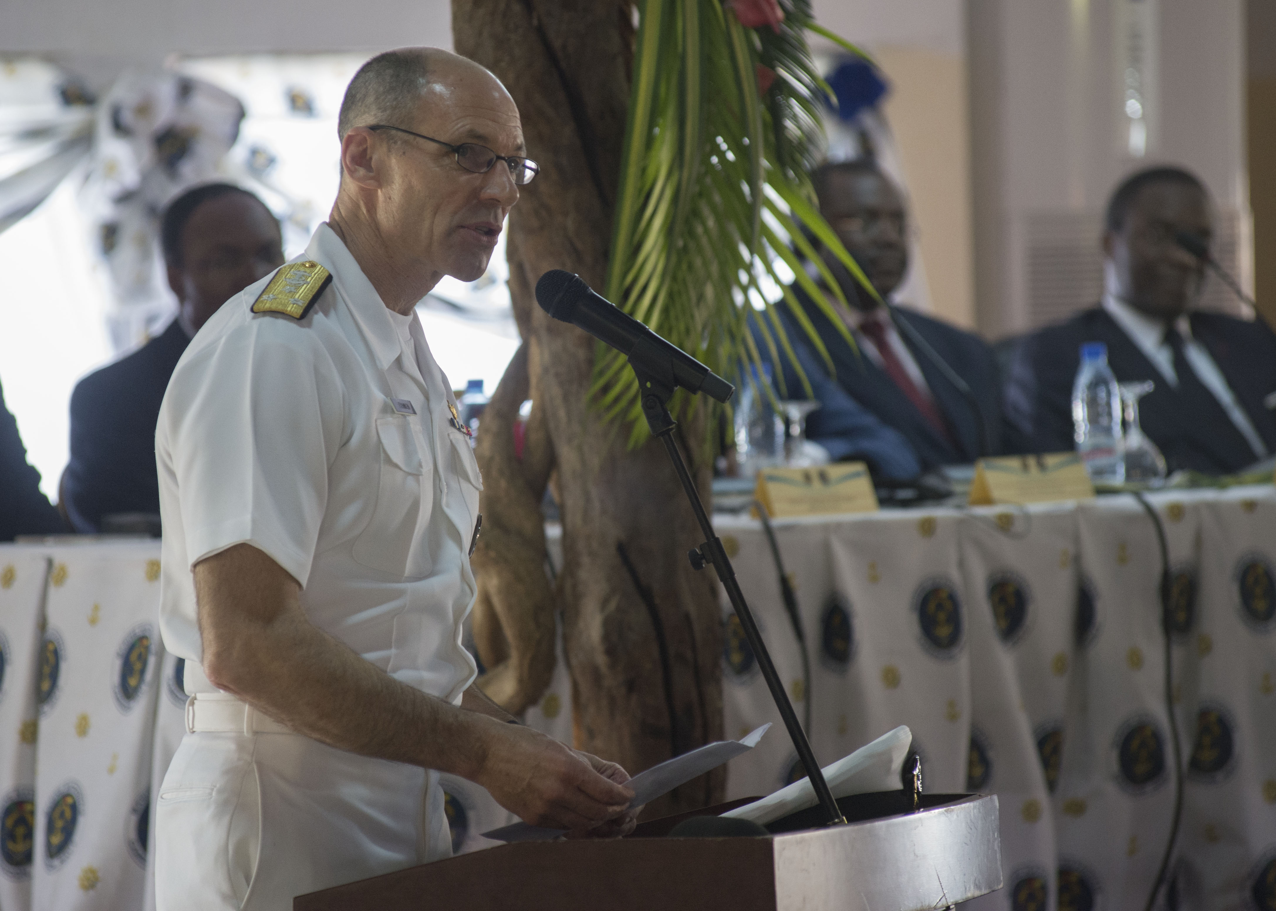 160325-N-QF605-107 DOUALA, Cameroon (March 25, 2016) - Vice Adm. Michael Franken, U.S. Africa Command deputy commander for military operations, speaks during the Exercise Obangame/Saharan Express 2016 closing ceremony in Douala, Cameroon, March 25, 2016. Obangame/Saharan Express, one of three African regional express series exercises facilitated by U.S. Naval Forces Europe-Africa/U.S. 6th Fleet, seeks to increase regional cooperation, maritime domain awareness, information sharing practices and improve interoperability among participating forces in order to enhance maritime security and regional economic stability. (U.S. Navy photo by Mass Communication Specialist 1st Class Amanda Dunford/Released)