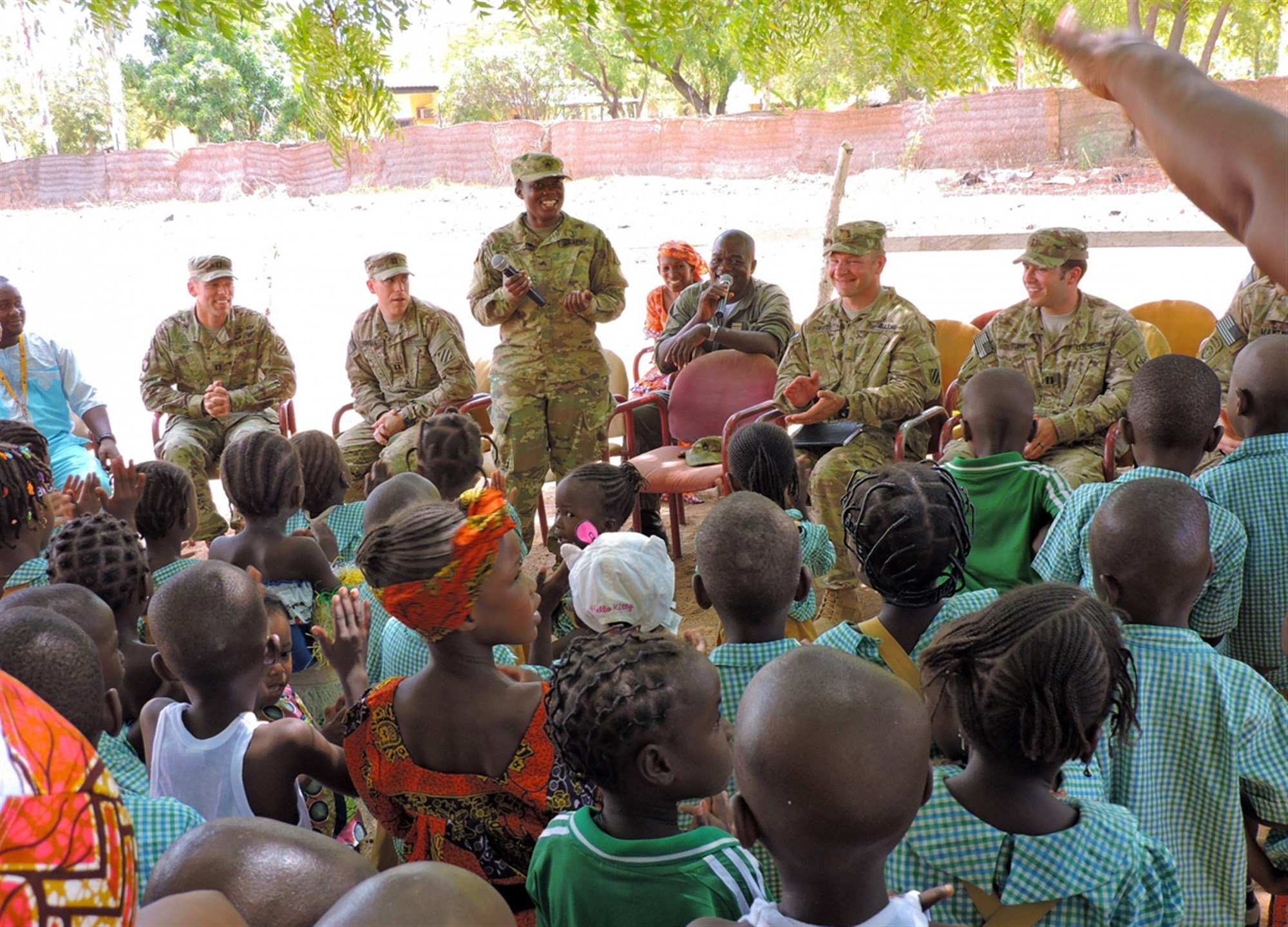 """Education is fundamental to the development of the country,"" said Sgt. Eunice Tahsoh, a supply technician assigned to 2nd Infantry Brigade Combat Team, 3rd Infantry Division while speaking to children from Ecole Maternelle Base Aerienne 301 Garoua (government nursery school) April 8. Soldiers from 3rd Inf. Div. provide non-lethal support to their Cameroonian hosts as part of U.S. Africa Command. (U.S. Army Africa photo by Spc. Jonathan Singletary/Released)"