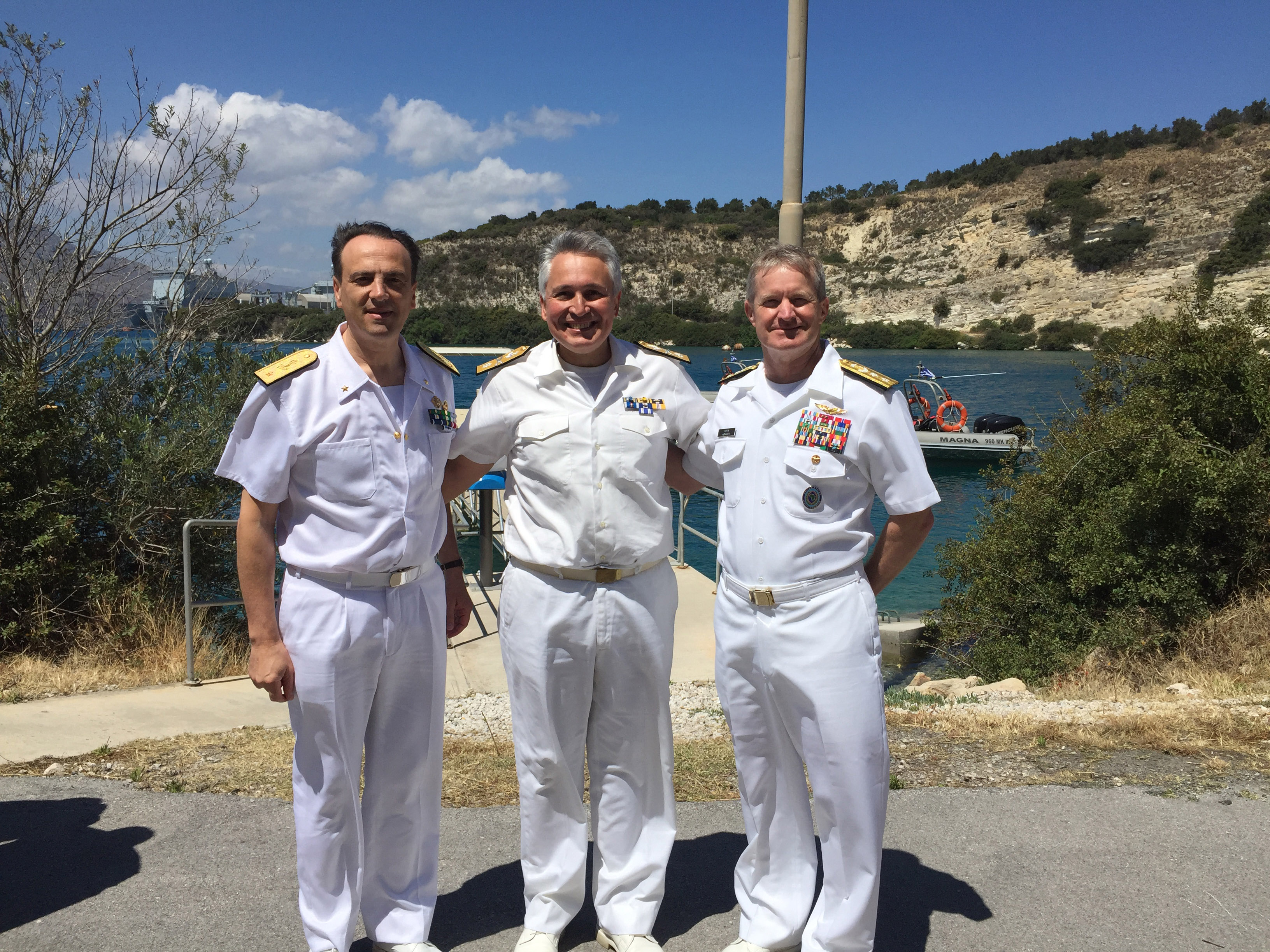 160517-N-VK993-001 SOUDA BAY, Greece (May 17, 2016)  Rear Adm. Kevin Kovacich, Director of Strategy, Plans, and programs, U.S. Africa Command, and Italian Navy Rear Adm. Alberto Maffeis, Commander Patrol Forces Italy joined with Hellenic Navy Commodore Georgios Tsogkas, Commandant of NATO Maritime Interdiction Operational Training Center for a tour of Naval Support Activity Souda Bay as part of exercise Phoenix Express 2016 opening ceremony May 17. Phoenix Express 2016, sponsored and facilitated by U.S Africa Command, is designed to improve regional cooperation, increase maritime domain awareness, information-sharing practices, and operational capabilities to enhance efforts to achieve safety and security in the Mediterranean Sea. (U.S. Navy photo by Lieutenant Junior Grade Jill Brown/Released)