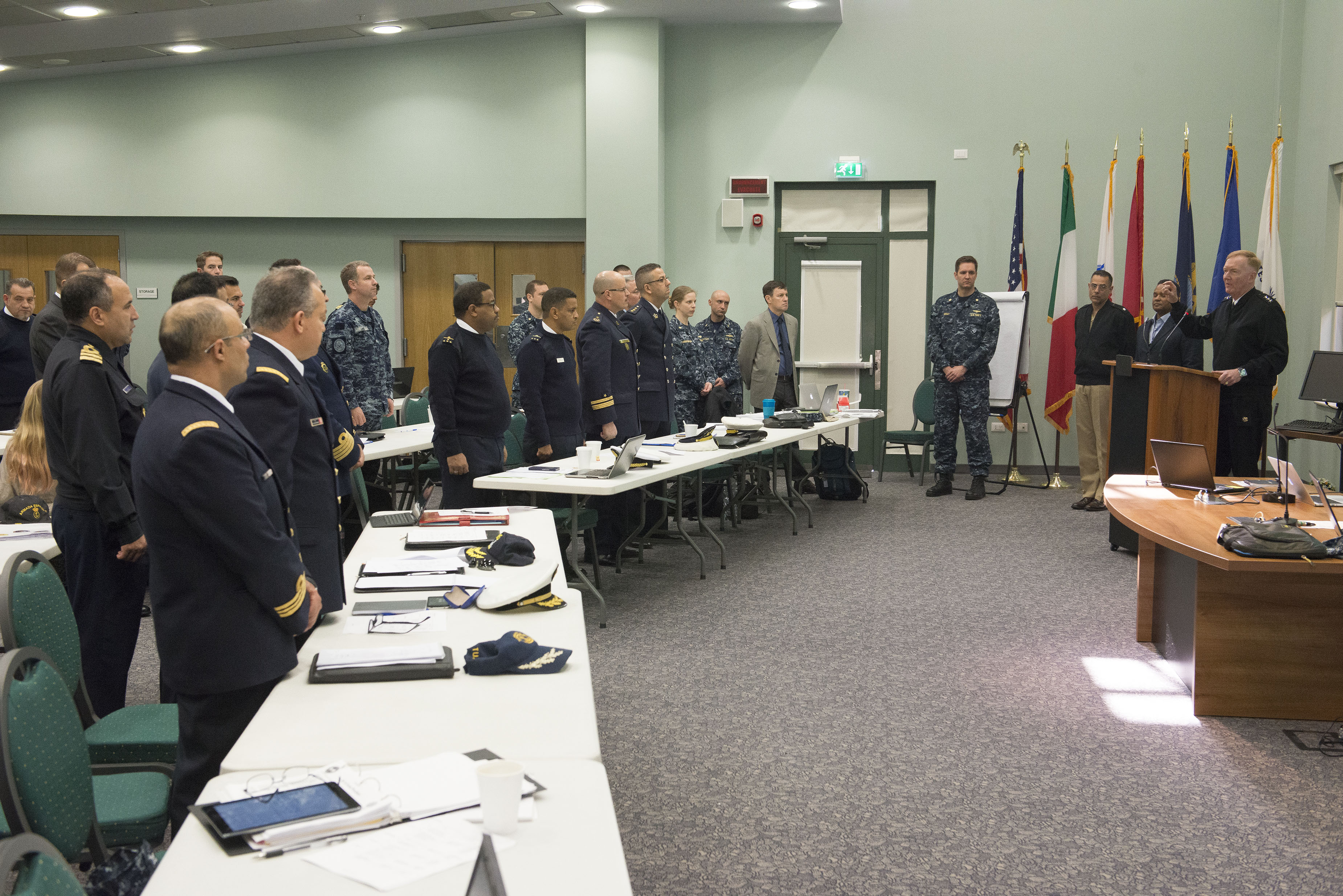 160307-N-OX801-011 NAVAL SUPPORT ACTIVITY NAPLES, Italy (March 7, 2016) Commander, U.S. 6th Fleet, Vice Adm. James Foggo III, right, gives remarks at the Phoenix Express 2016 planning conference at Naval Support Activity Naples, Italy, March 7, 2016. U.S. 6th Fleet, headquartered in Naples, Italy, conducts the full spectrum of joint and naval operations, often in concert with allied, joint, and interagency partner, in order to advance U.S. national interests and security and stability in Europe and Africa. (U.S. Navy photo by Mass Communication Specialist 2nd Class Daniel P. Schumacher/Released)