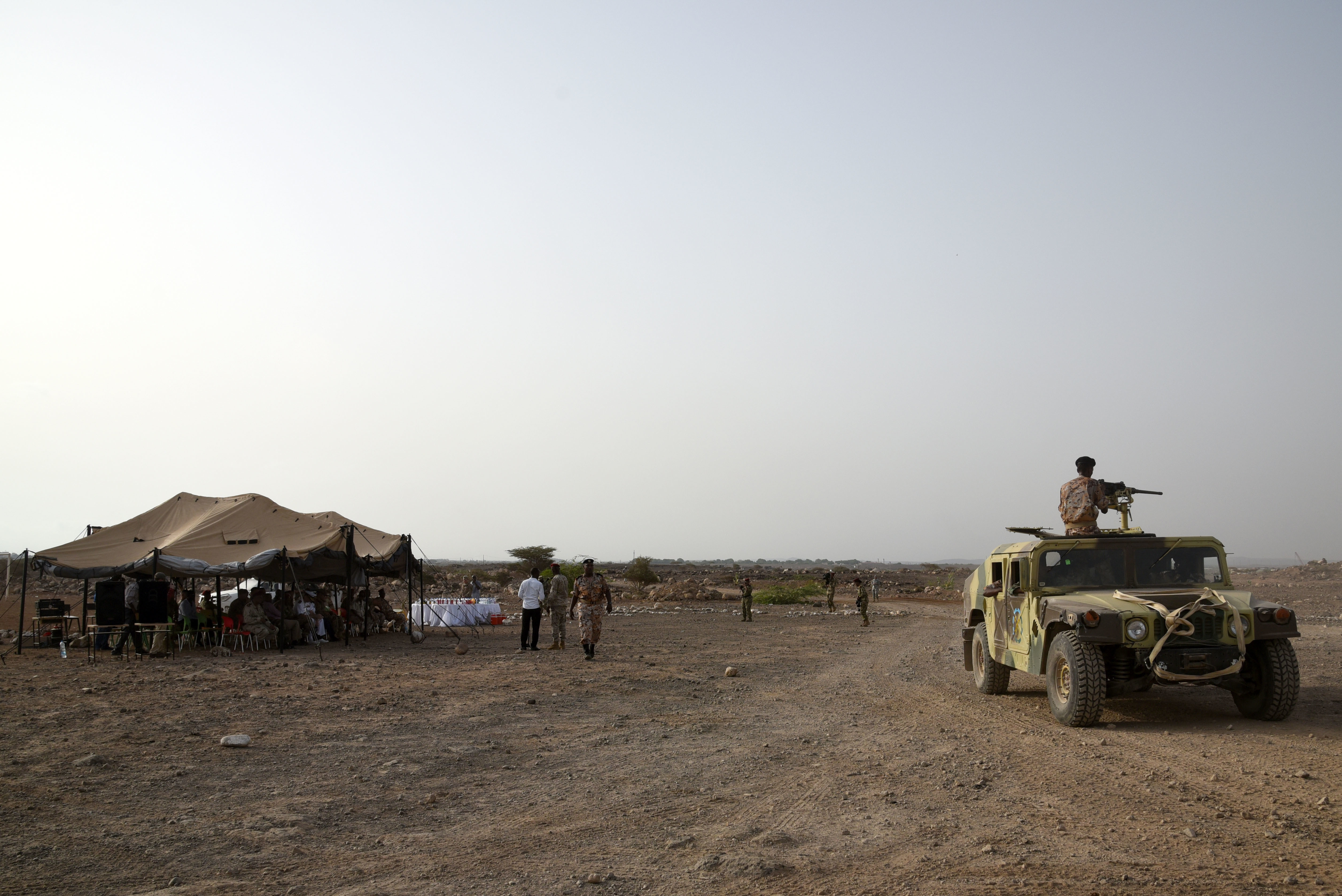 CAMP CHEIK OSMAN, Djibouti – Djiboutian Armed Forces(FAD) Soldiers demonstrate the collective skills they learned from a five month area logistics training instructed by U.S. Army Regionally Aligned Forces Soldiers at their training graduation, May 19, 2016, at Camp Cheik Osman, Djibouti. Beginning in January 2016, the FAD Soldiers learned basic logistics functions, supply, economy, warehouse operations, maintenance along with rifle marksmanship, convoy operations and heavy weapons. (U.S. Air Force photo by Staff Sgt. Tiffany DeNault/Released)