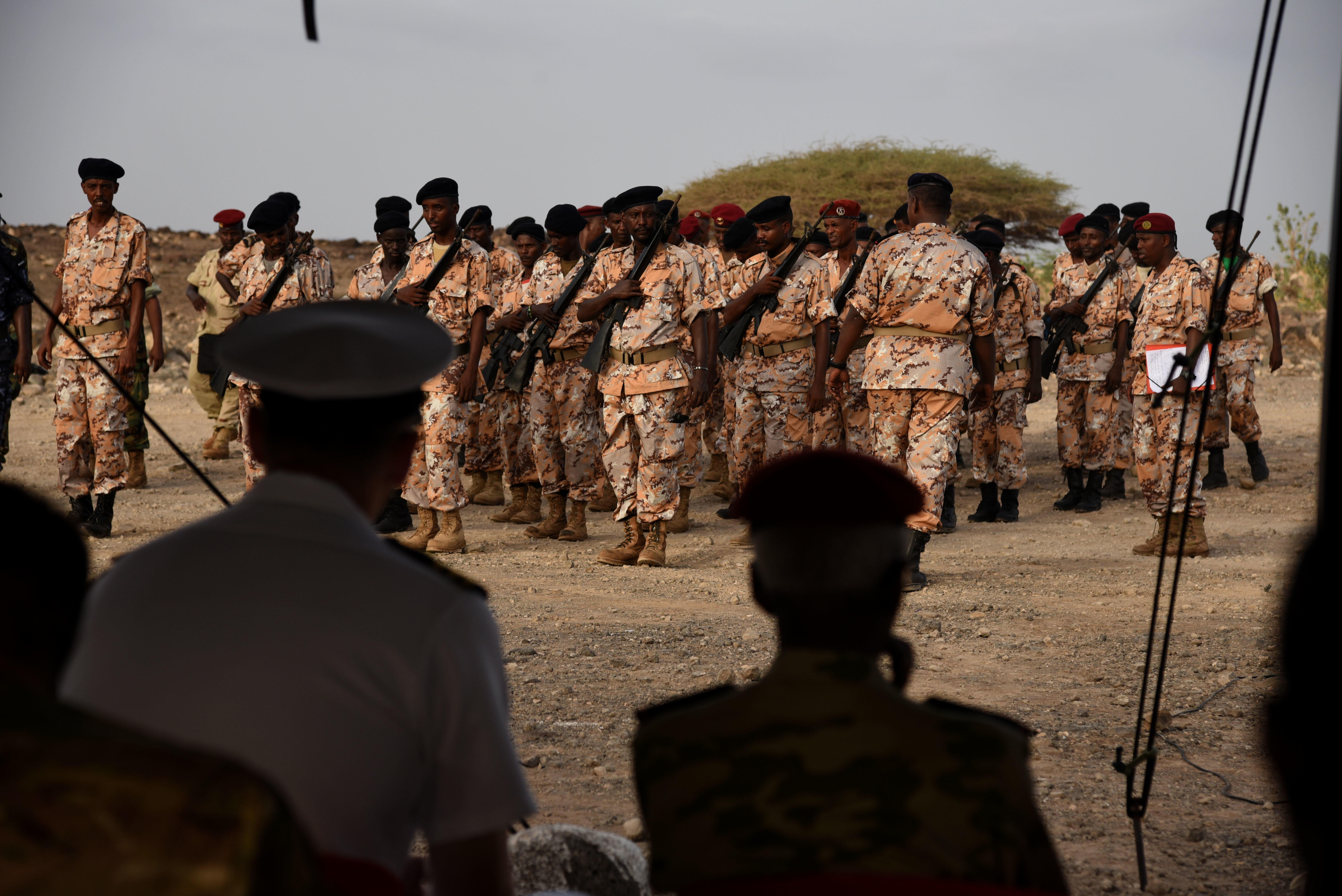 CAMP CHEIK OSMAN, Djibouti – Djiboutian Armed Forces (FAD) Soldiers graduate after completing a five month Area Logistics Training instructed by U.S. Army Regionally Aligned Forces Soldiers, May 19, 2016, at Camp Cheik Osman, Djibouti. The FAD Soldiers learned basic logistics functions, supply, economy, warehouse operations, maintenance along with rifle marksmanship, convoy operations and heavy weapons. (U.S. Air Force photo by Staff Sgt. Tiffany DeNault/Released)