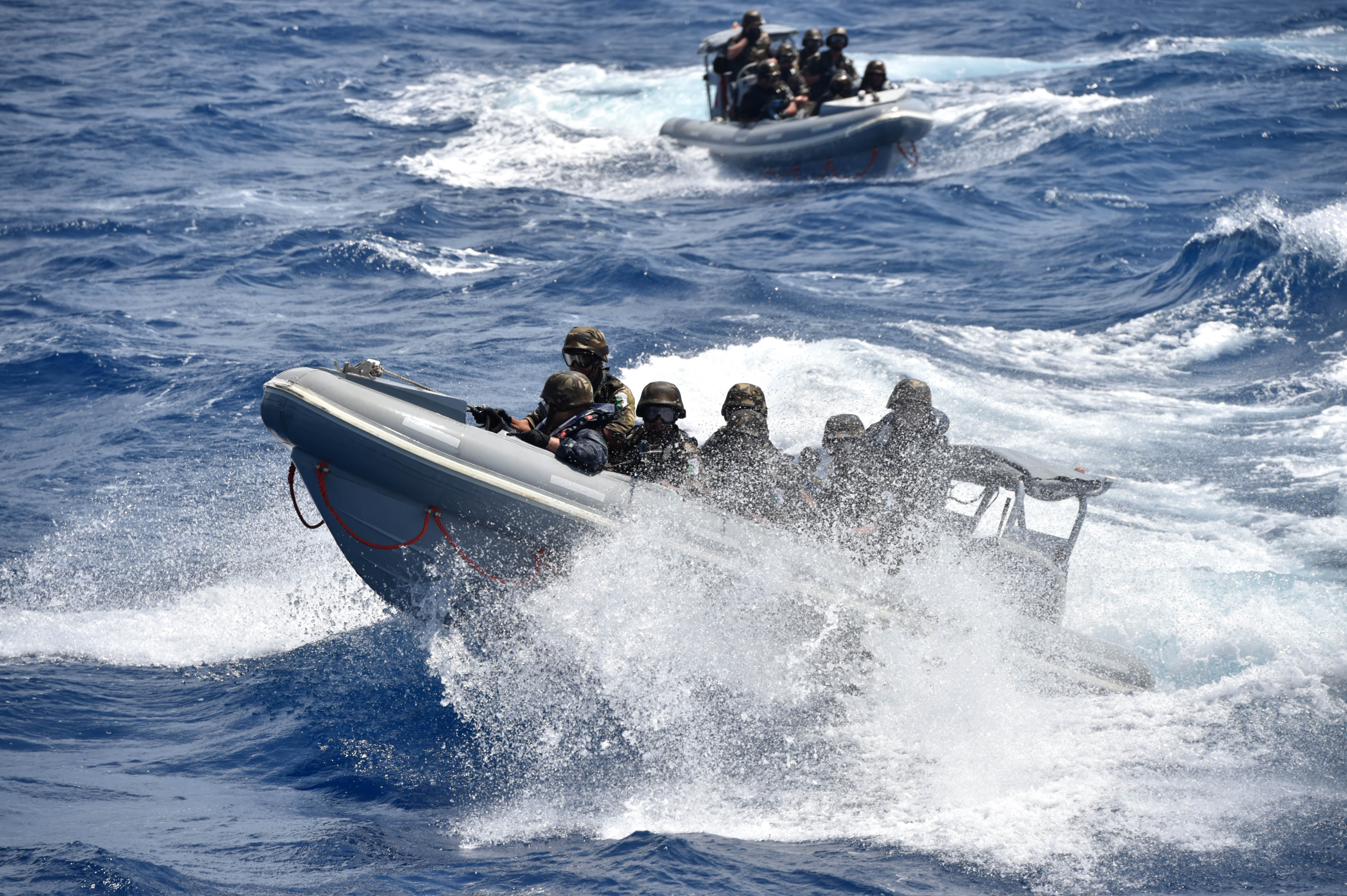 160522-N-XT273-882 MEDITERRANEAN SEA (May 22, 2016) Italian Sailors and Marines participate in a mock visit, board, search, and seizure boarding drill aboard the Algerian ship Kalaat Beni-Abbes 474 during Exercise Phoenix Express 2016 May 22. Phoenix Express is a U.S. Africa Command-sponsored multinational maritime exercise designed to increase maritime safety and security in the Mediterranean. (U.S. Navy photo by Mass Communication Specialist 2nd Class Justin Stumberg/Released)