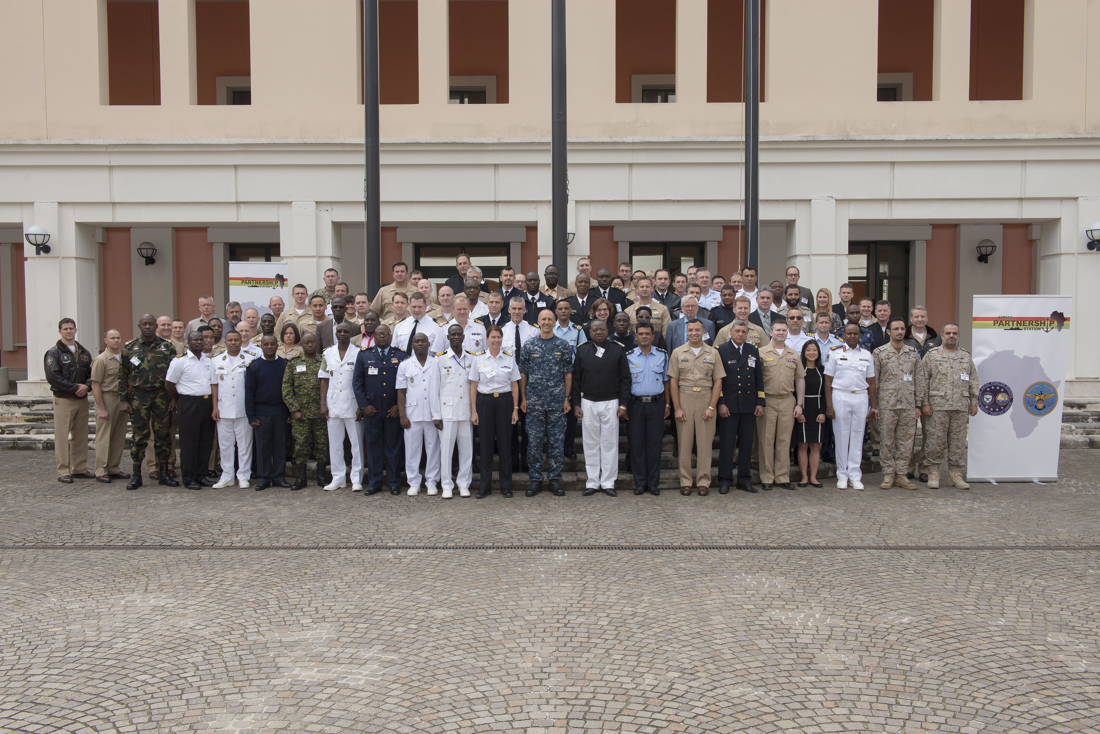 160503-N-OX801-094 NAVAL SUPPORT ACTIVITY NAPLES, Italy (May 3, 2016) U.S. Naval Forces Europe-Africa Chief of Staff, Rear Adm. Cathal O'Connor, center, and attendees of the Africa Partnership Station 2017 planning conference pose for a photo in Naval Support Activity Naples, Italy, May 3, 2016. U.S. 6th Fleet, headquartered in Naples, Italy, conducts the full spectrum of joint and naval operations, often in concert with allied, joint, and interagency partner, in order to advance U.S. national interests and security and stability in Europe and Africa. (U.S. Navy photo by Mass Communication Specialist 2nd Class Daniel Schumacher/ Released)