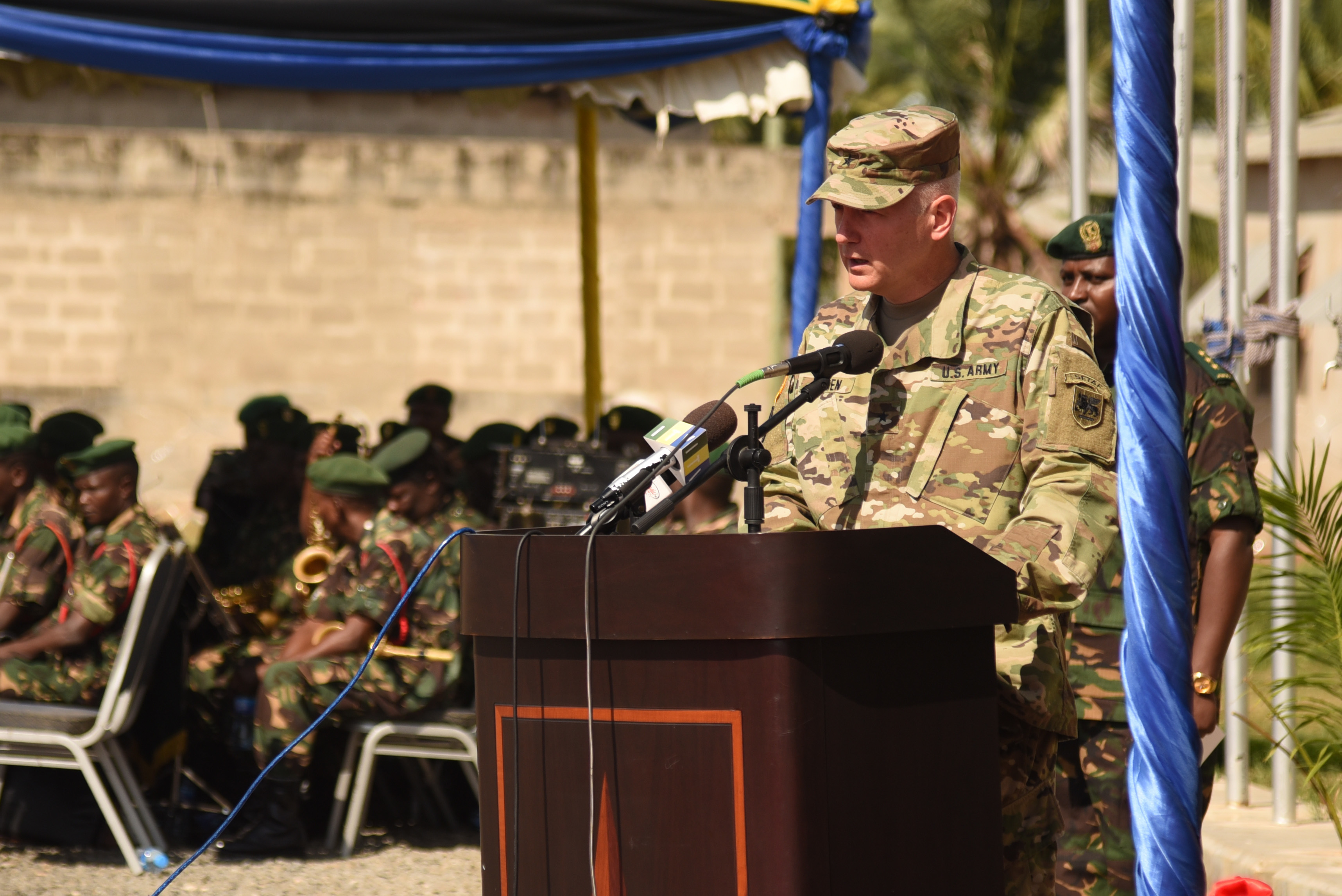 DAR ES SALAAM, Tanzania – U.S. Army Brig. Gen. Jon Jensen, U.S. Army Africa deputy commanding general and co-exercise director, welcomes participants to the Eastern Accord 2016 command post exercise during the opening ceremony at the Tanzanian Peacekeeping Training Centre on July, 11, 2016, Dar es Salaam, Tanzania. EA16 is an annual, combined, joint military exercise that brings together partner nations to practice and demonstrate proficiency in conducting peacekeeping operations. (U.S. Air Force photo by Staff Sgt. Tiffany DeNault/Released)
