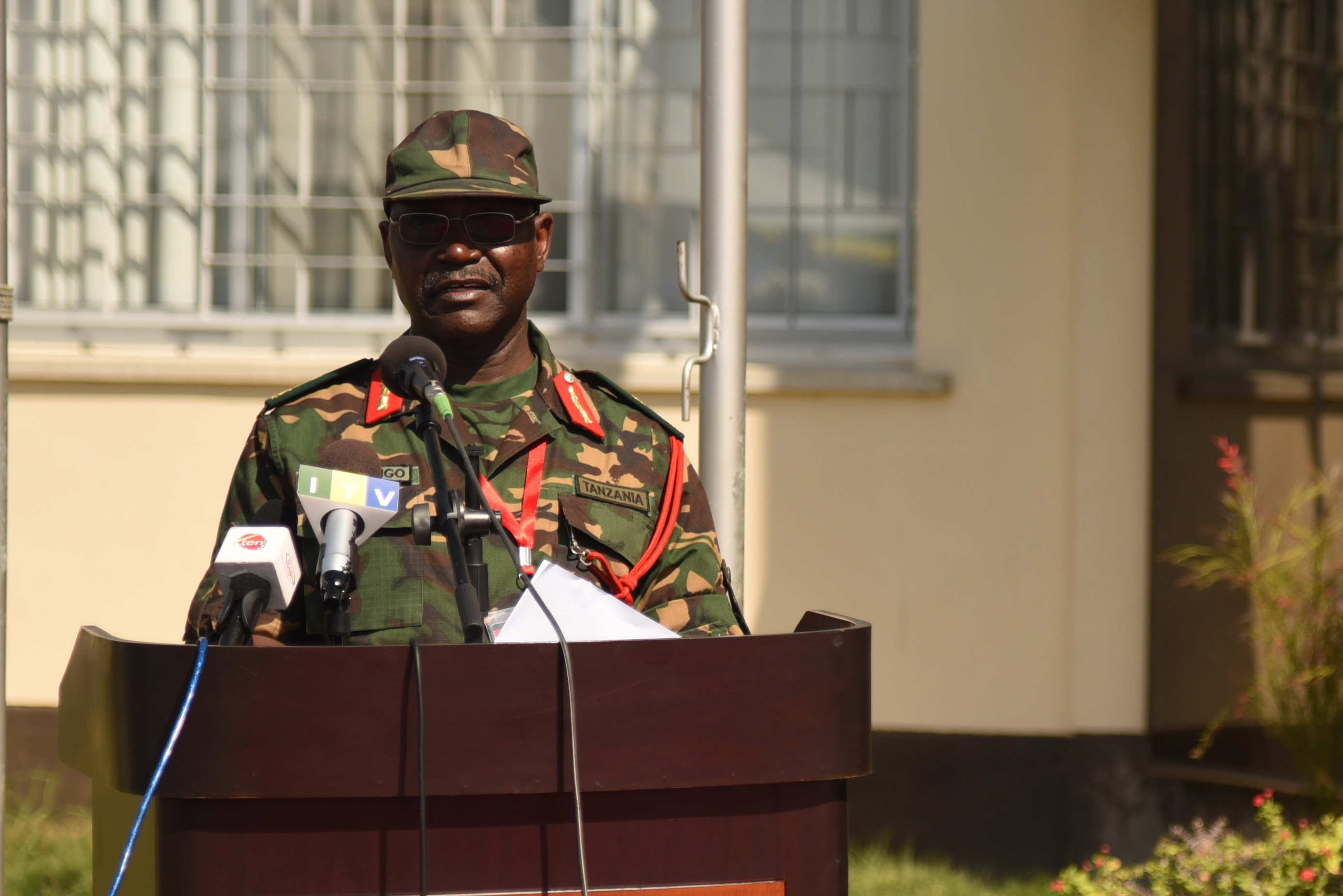 DAR ES SALAAM, Tanzania – Tanzanian Brig. Gen. Yohana Ocholla Mabongo, Eastern Accord 2016 exercise co-director, welcomes the participants to the Eastern Accord 2016 command post exercise during the Opening Ceremony at the Tanzanian Peacekeeping Training Centre on July, 11, 2016, in Dar es Salaam, Tanzania. EA16 is an annual, combined, joint military exercise that brings together partner nations to practice and demonstrate proficiency in conducting peacekeeping operations. (U.S. Air Force photo by Staff Sgt. Tiffany DeNault/Released)