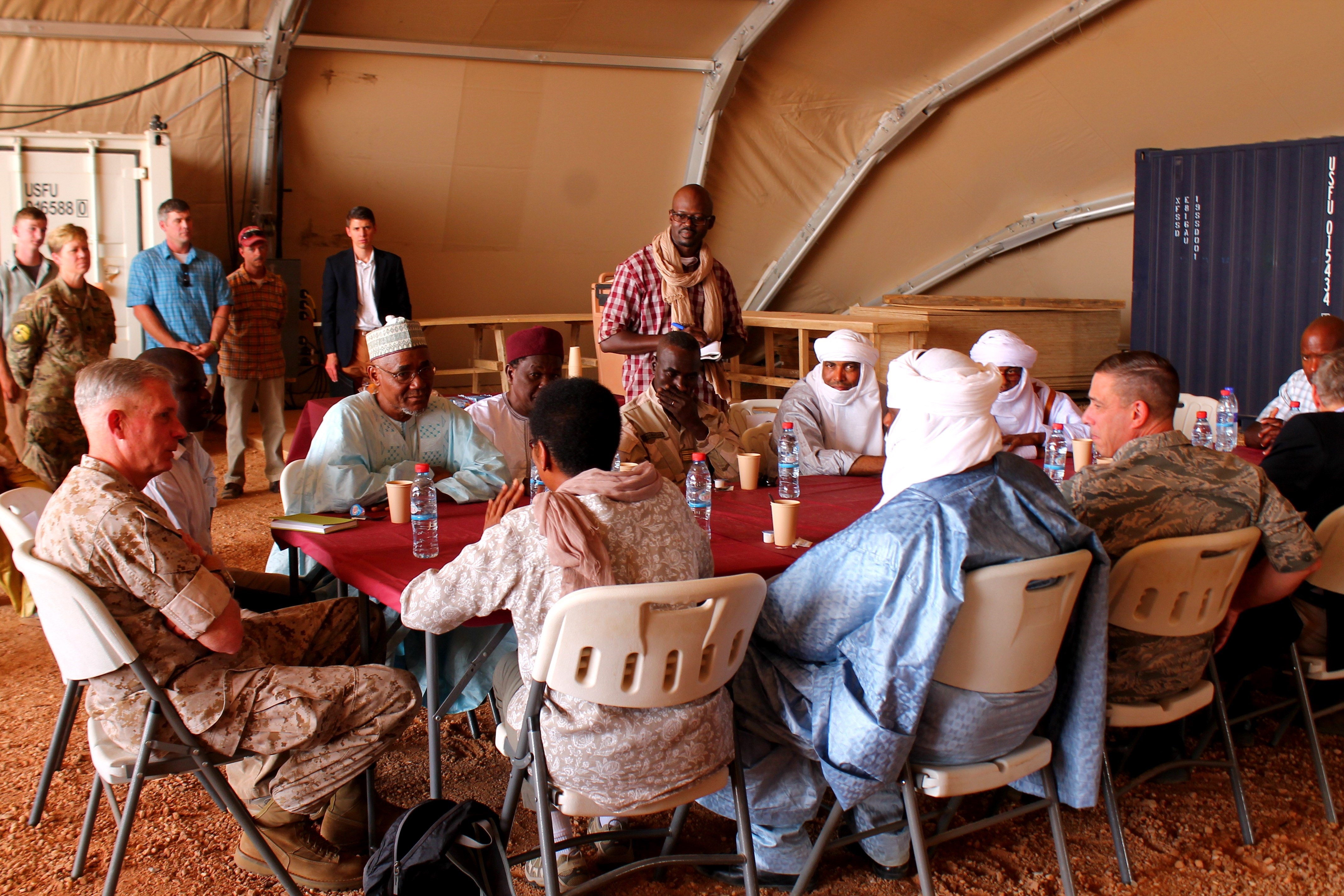Gen. Thomas Waldhauser, Commander, U.S. Africa Command, and U.S. Ambassador to Niger Eunice Reddick meet with several Nigerien civilian leaders outside of Agadez, Niger on Nov. 1, 2016 to discuss improvements to Niger's Air Base 201. (Photo by Samantha Reho, U.S. Africa Command Public Affairs/Released)