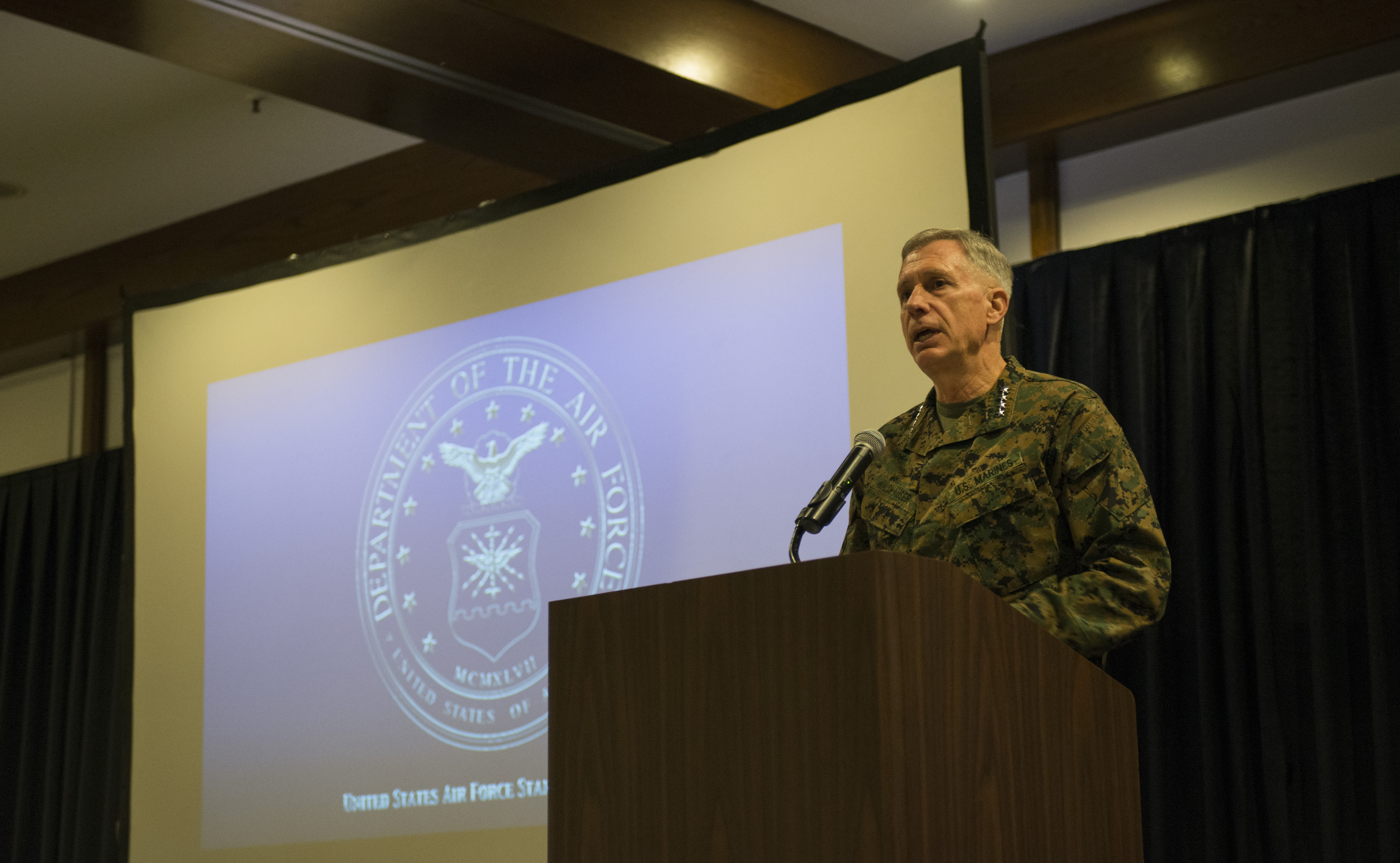 U.S. Marine Corps Gen. Thomas Waldhauser, U.S. Africa Command commander, gives his opening statement at the annual Regional Synchronization Working Group symposium at Ramstein Air Base, Germany, Nov. 14, 2016. The event is an Africa-focused security cooperation forum with leaders from the Department of State, the Department of Defense, the U.S. Agency for International Development and other personnel to synchronize efforts across the diplomatic, defense and developmental sectors in AFRICOM.