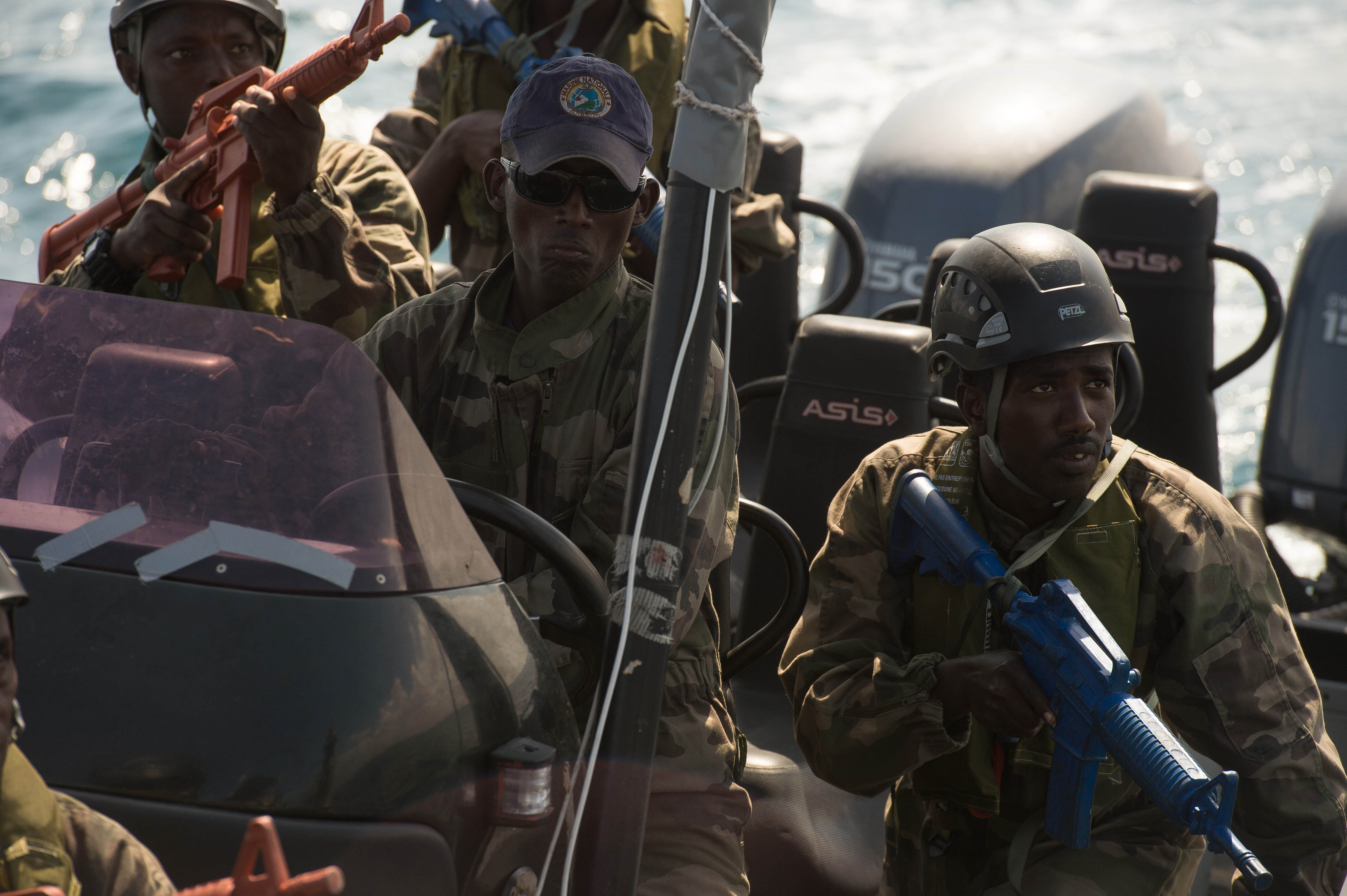 160204-F-IJ878-092 DJIBOUTI, Djibouti (Feb. 4, 2016) Maritime forces of Djibouti prepare to board a patrol boat during a training scenario as part of exercise Cutlass Express 2016. Cutlass Express is a U.S. Africa Command-sponsored multinational maritime exercise designed to increase maritime safety and security in the waters off East Africa, western Indian Ocean island nations, and in the Gulf of Aden. (U.S. Air Force photo by Tech. Sgt. Barry Loo/Released)