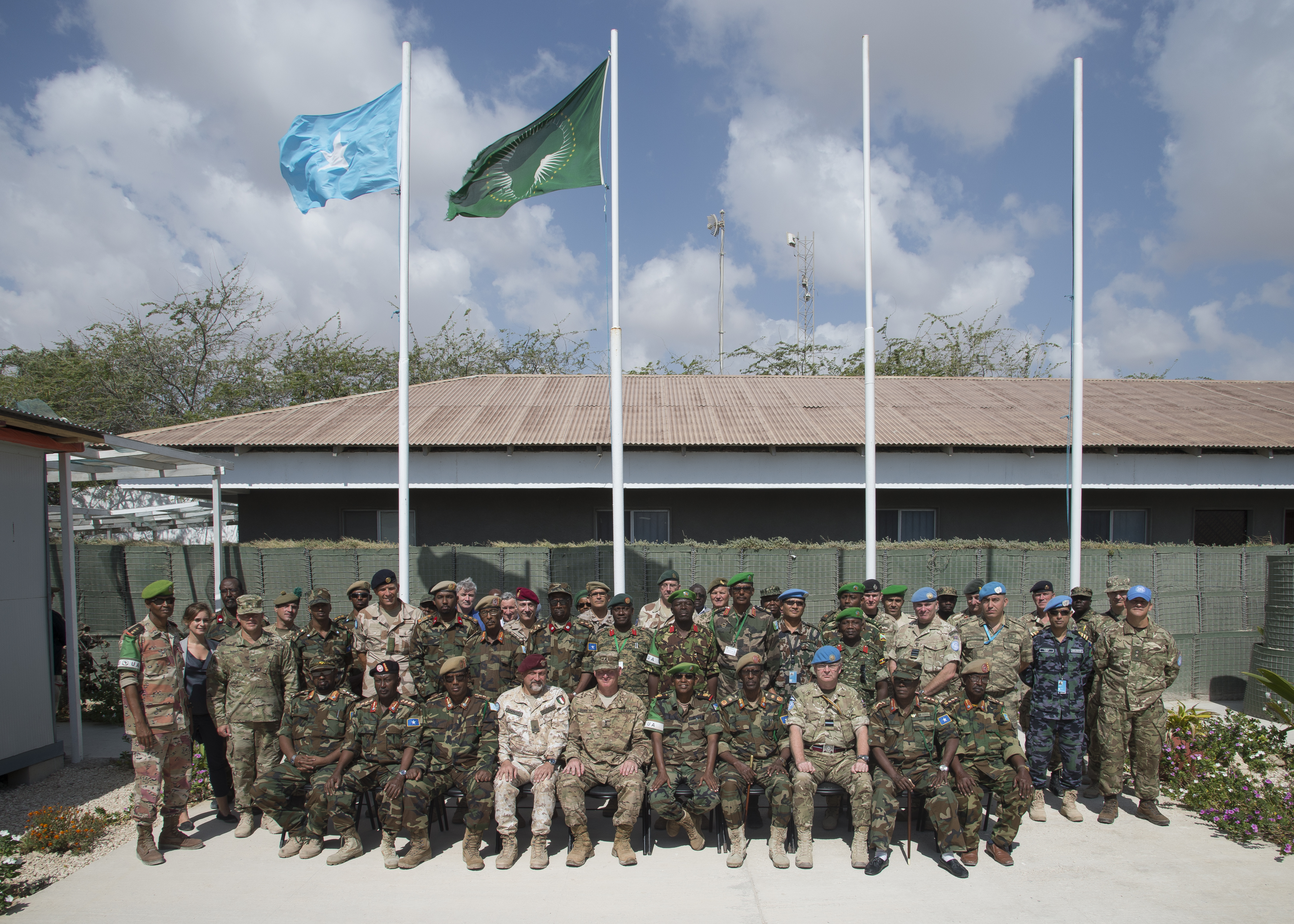 Leaders of the Somali National Army gather with international military and civilian officials for the SNA Symposium in downtown Mogadishu, Jan. 11, 2017. More than 60 participants attended the two-day event, including representatives from Denmark, Germany, Italy, Somalia, Turkey, Uganda, the United Arab Emirates, United Kingdom and the United States of America. Also in attendance, were representatives from international organizations such as the United Nations, European Union Training Mission, and the African Union Mission in Somalia. (Photo by Master Sgt. Paul Gorman/Released)