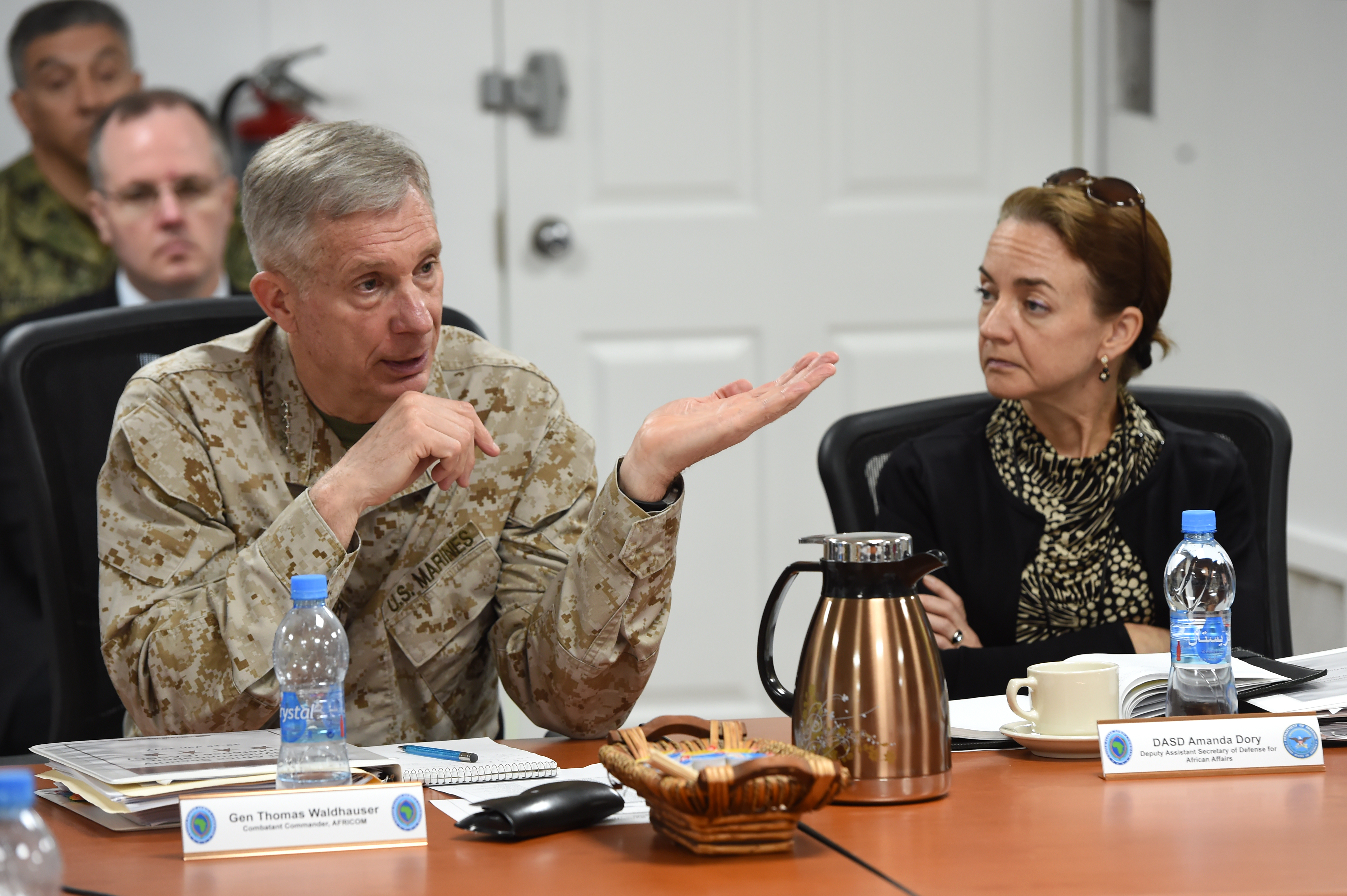 Gen. Thomas Waldhauser, commander of U.S. Africa Command, addresses attendees of the 2017 East Africa Security Synchronization Conference at Camp Lemonnier, Djibouti, Jan. 24. The two-day event allowed U.S. Embassy representatives from eight East African nations to engage with AFRICOM leadership, and provided the opportunity for an open dialogue to discuss the security environments of each country. (U.S. Air National Guard photo by Master Sgt. Paul Gorman/Released)