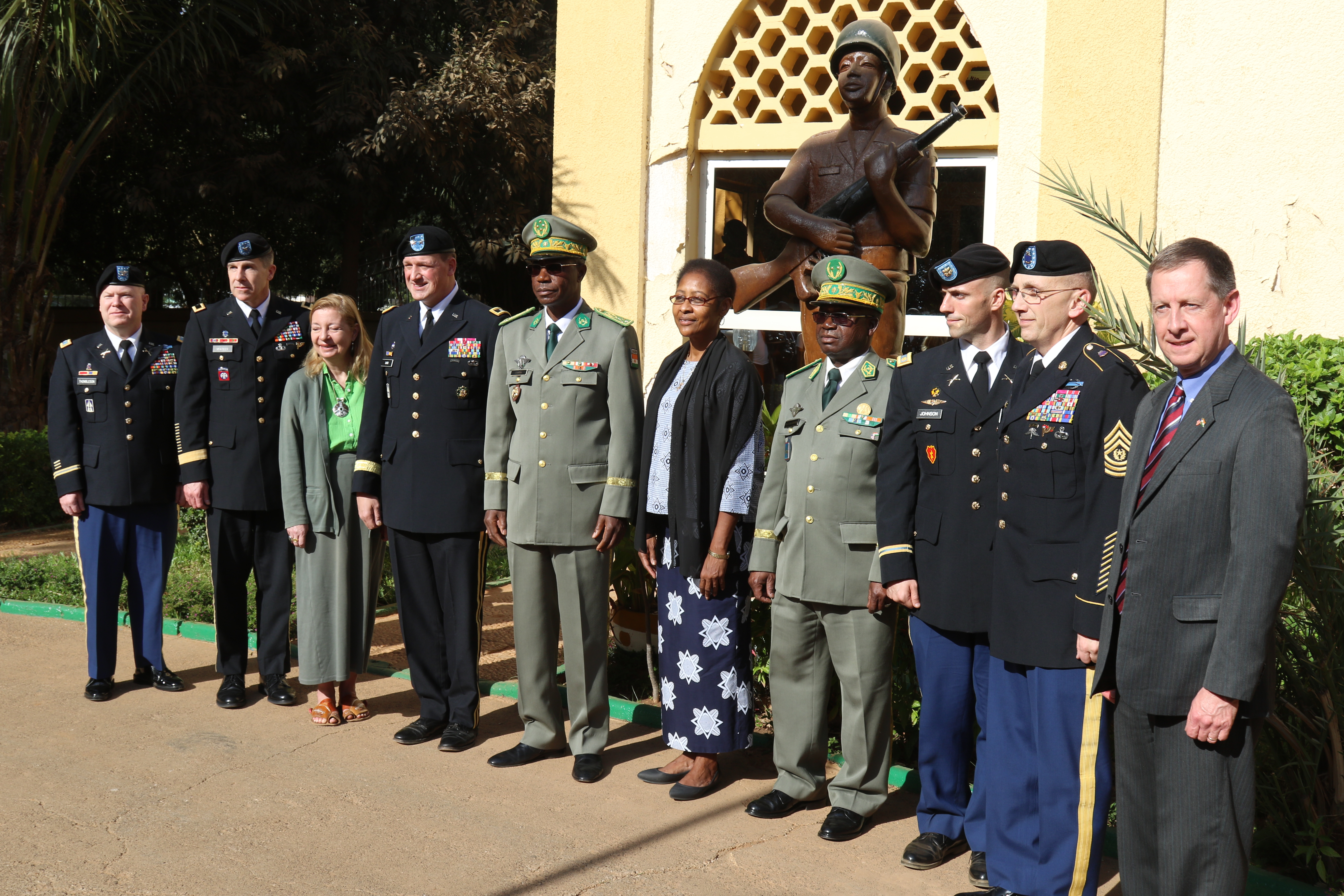 NIAMEY, Niger - Delegates from the Indiana National Guard, the U.S. State Department and the Niger Armed Forces pose for a group photo after the State Partnership signing ceremony in Niamey, Niger. (Photo by Nate Herring, U.S. AFRICOM Public Affairs/Released)