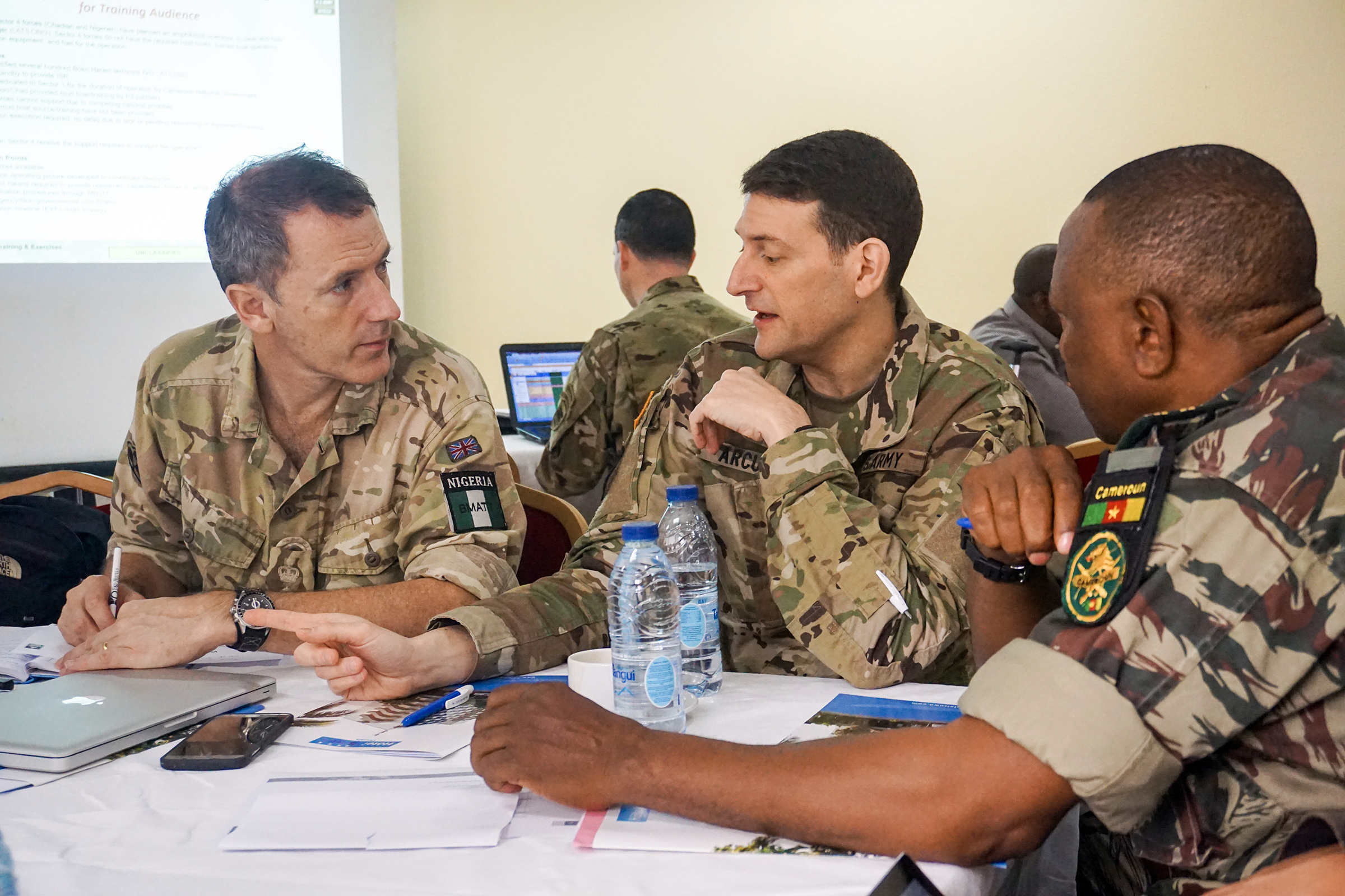 Planners discuss the details of each exercise scenario during the Unified Focus 2017 final planning event (FPE), Douala, Cameroon, Feb. 6, 2017. The UF17 FPE brought partner nation planners together to discuss and shape the inaugural Unified Focus exercise designed to enhance and enable Lake Chad Basin Commission nations to support the Multinational Joint Task Force (MNJTF) counter-Boko Haram operations. (U.S. Army Africa photo by Capt. Jason Welch/Released)
