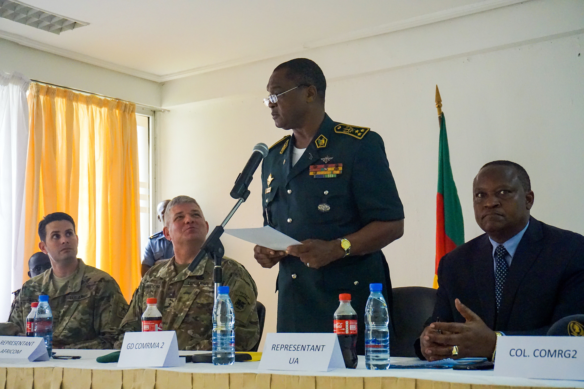 Cameroonian Maj. Gen. Saly Mohamadou, the regional commander and senior host for the planning event, provides remarks during the opening ceremony for the Unified Focus 2017 final planning event (FPE), Douala, Cameroon, Feb. 6, 2017. The UF17 FPE brought partner nation planners together to discuss and shape the inaugural Unified Focus exercise designed to enhance and enable Lake Chad Basin Commission nations to support the Multinational Joint Task Force (MNJTF) counter-Boko Haram operations. (U.S. Army Africa photo by Capt. Jason Welch/Released)