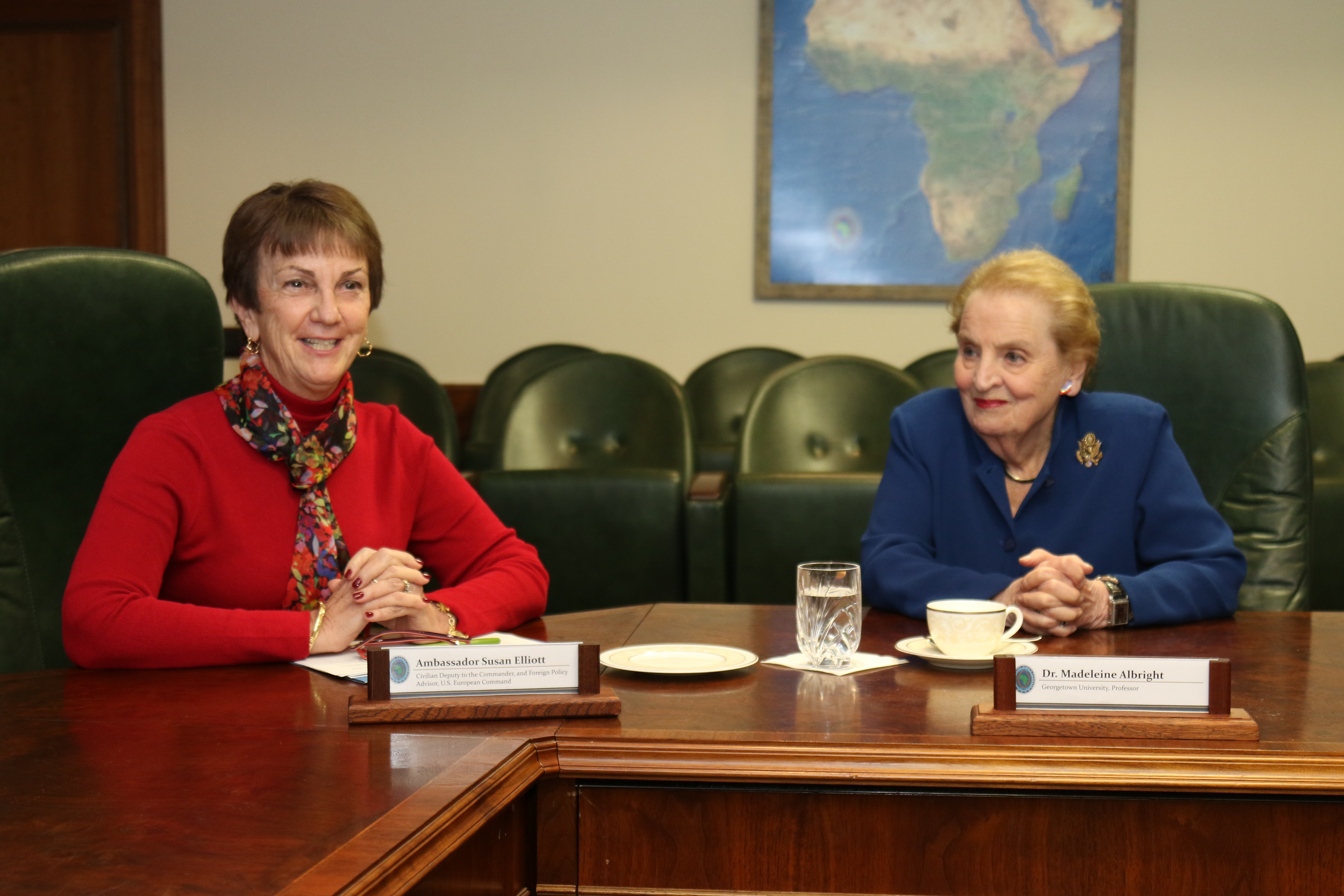 "Amb. Susan Elliott, Civilian Deputy to the Commander, U.S. European Command (left) and former Secretary of State Madeleine Albright meet with career Foreign Service officers currently assigned to AFRICOM and EUCOM during Albright's visit to AFRICOM,  Feb. 16, 2017.  Albright praised attendees for their contribution to American diplomacy and expressed the importance of ""working across the aisle"" to get things done. (USAFRICOM photo by Brenda Law/Released)"