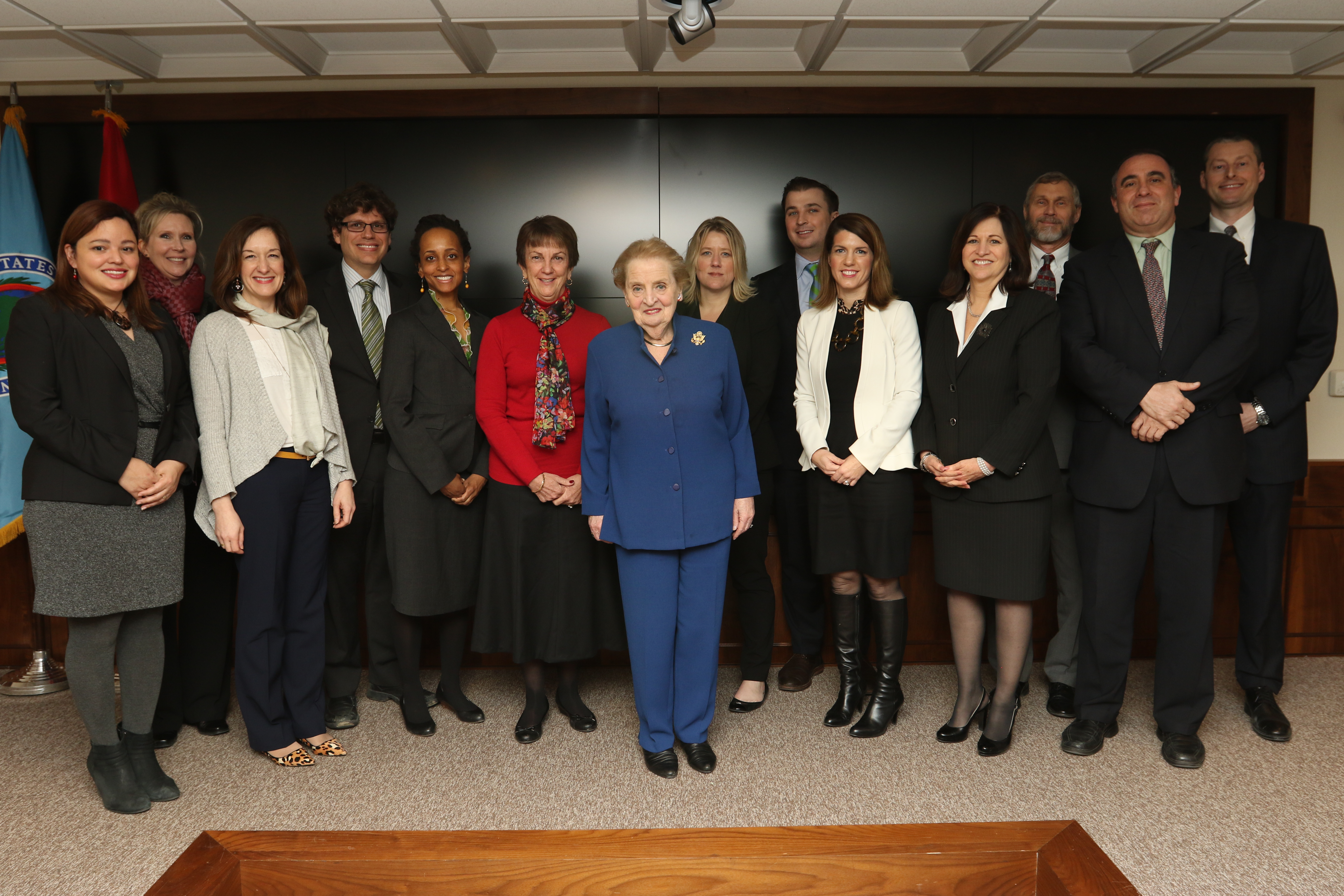 "During her visit to AFRICOM, former Secretary of State Madeleine Albright poses for a group photo with U.S. State Department Foreign Service officers currently assigned to U.S. Africa and U.S. European Commands, Feb. 16, 2017. Albright praised the Foreign Service officers for their contribution to American diplomacy and expressed the importance of ""working across the aisle"" to get things done. (USAFRICOM photo by Brenda Law/Released)"