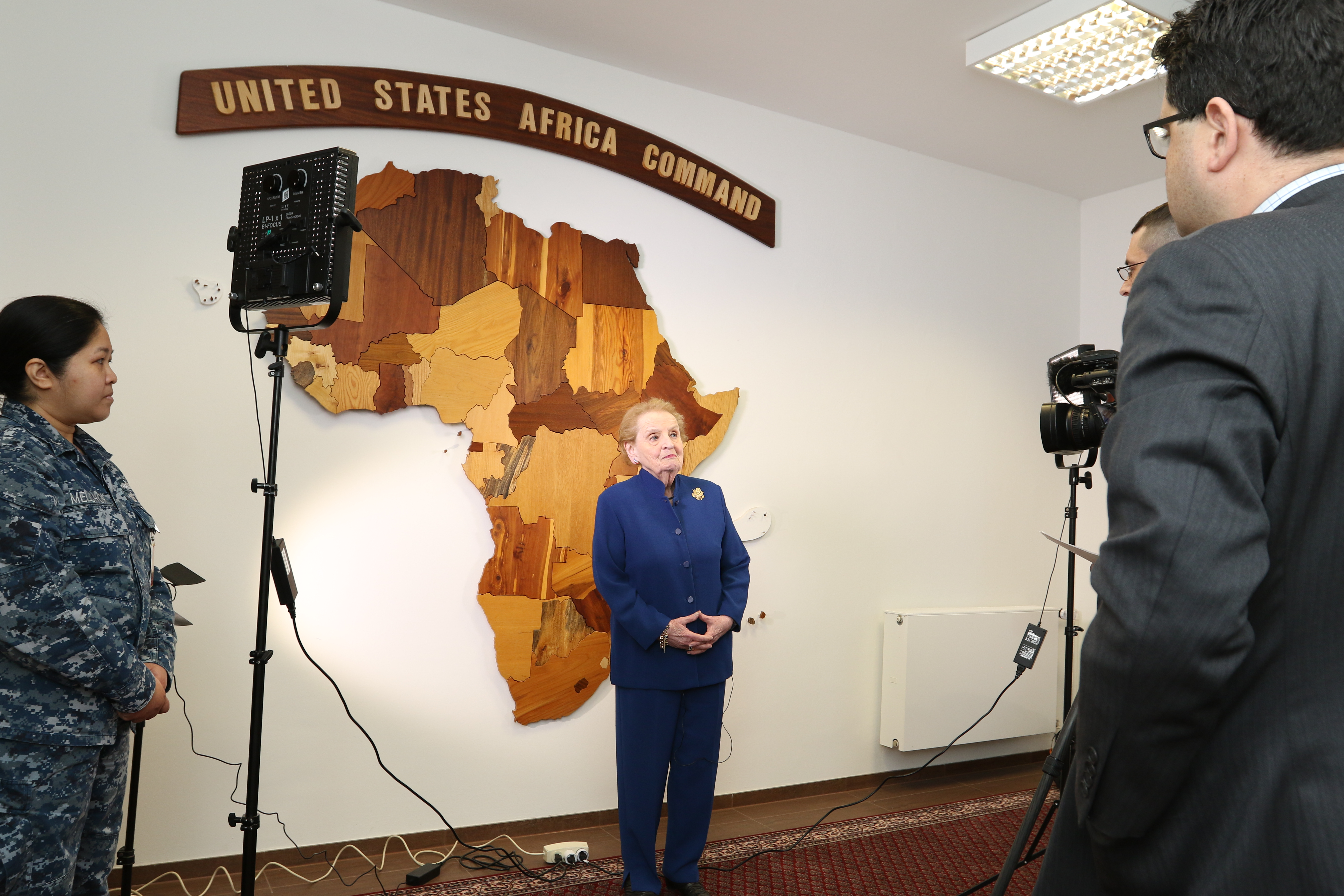 AFN interviews former Secretary of State Madeleine Albright during her visit to AFRICOM, Feb. 6, 2017. (USAFRICOM photo by Brenda Law/Released)