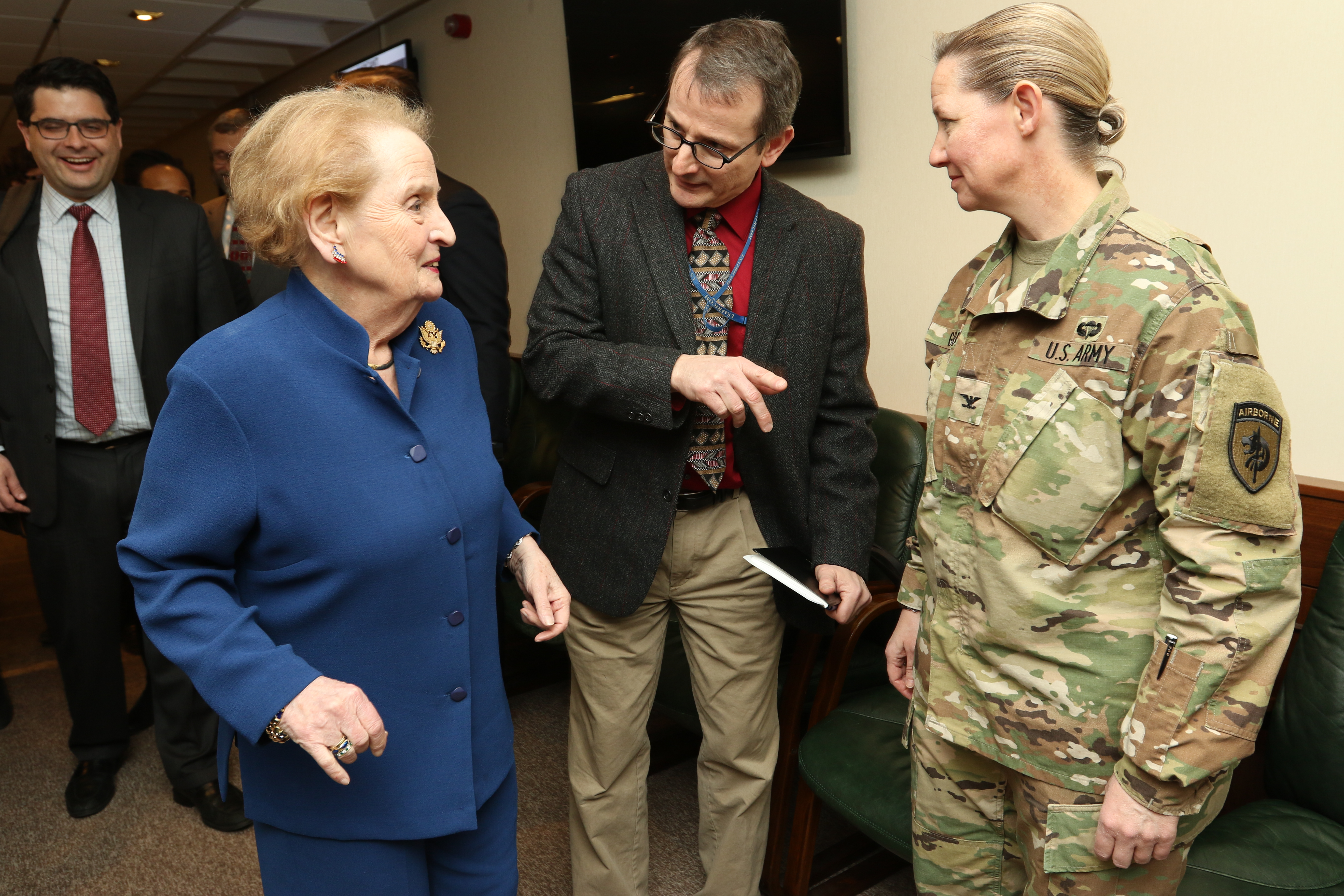 Jon Dahms, AFRICOM's Deputy for Public Affairs and Communication Synchronization division (center) introduces former Secretary of State Madeleine Albright to U.S. Army Colonel Kathy Graef, U.S. Special Operations Command-Africa's (USSOCAF) Director of Logistics (right), Feb. 16, 2017.  Albright traveled to U.S. Africa Command to learn about the command's programs and mission in Africa. (USAFRICOM photo by Brenda Law/Released)