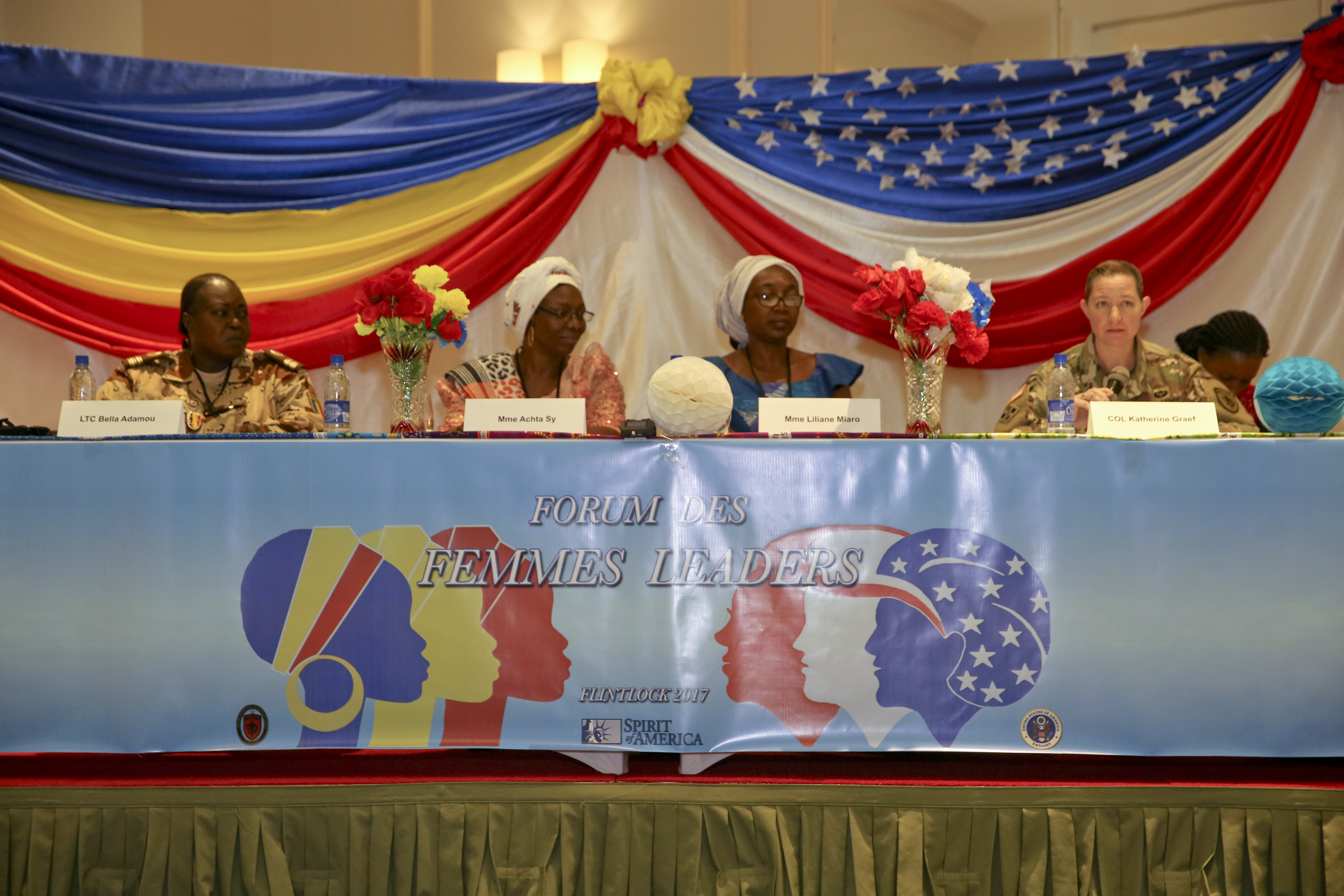 Special Operations Command Africa hosted its first Women's Leadership Forum on the eve of International Women's Day in N'Djamena, Chad, Mar. 7, 2017, as a part of Exercise Flintlock 2017.  This leadership discussion forum was led by Chadian women from across the spectrum of employment to address Chadian challenges and opportunities, and was facilitated by the U.S. Embassy and Spirit of America. Flintlock is an annual special operations exercise involving more than 20 nation forces that strengthens security institutions, promotes multinational sharing of information, and develops interoperability among partner nation in North and West Africa. (Photo by Sgt. Derek Hamilton/Released)