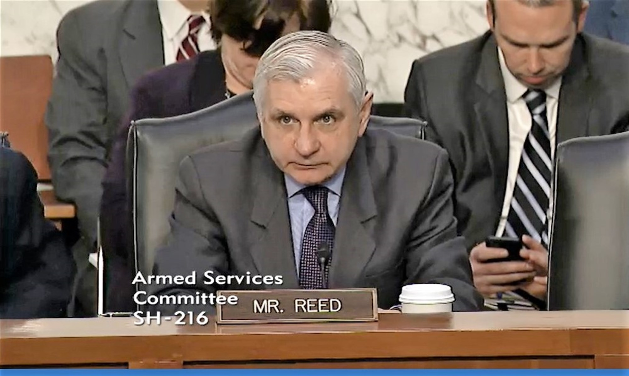 SASC Ranking Member, Sen. Jack Reed at hearing on AFRICOM and CENTCOM, Mar. 9, 2017, in Washington.  Gen. Thomas Waldhauser, AFRICOM commander, appeared before the committee for an annual session that allows members the opportunity receive updates from commanders and ask questions that inform decisions. During the hearing, Waldhauser submitted U.S. AFRICOM's official annual posture statement and answered questions related to the command's area of responsibility on topics ranging from counter-terrorism initiatives to the influence of other countries upon the African continent.  (Courtesy image)