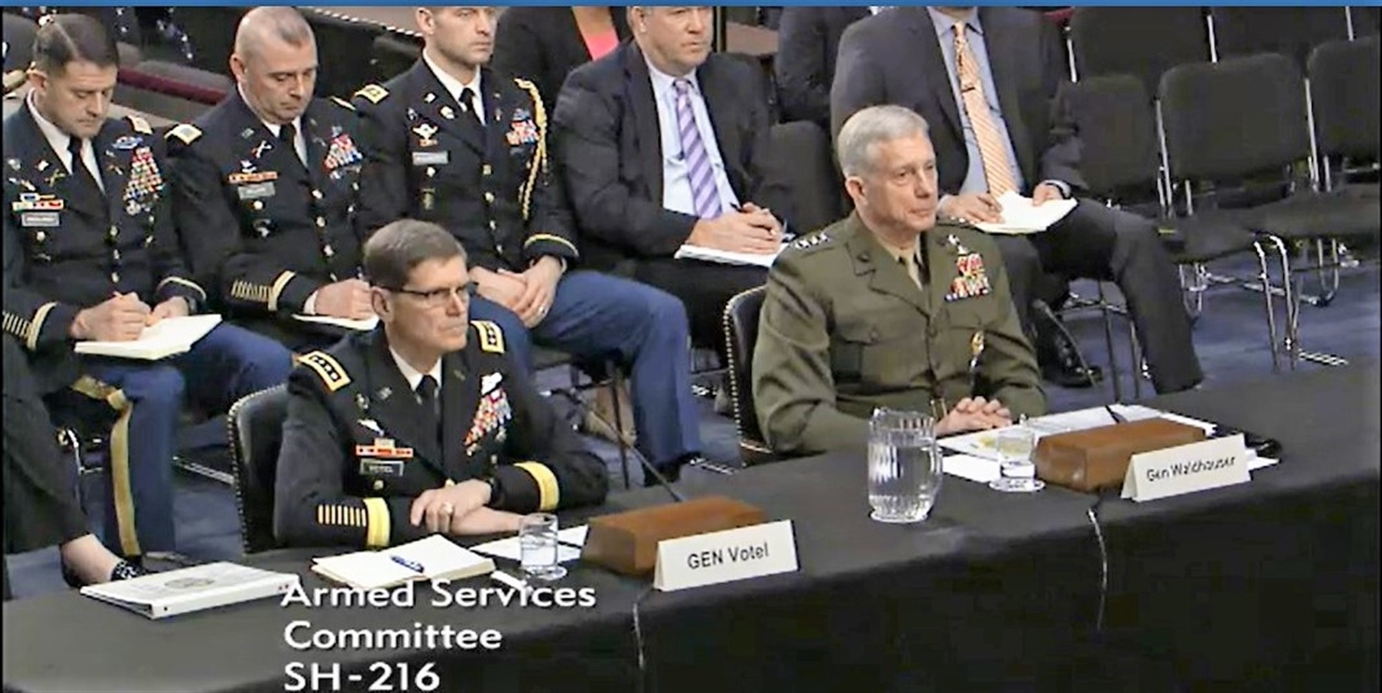 AFRICOM Commander Gen. Thomas Waldhauser (right) and CENTCOM Commander Gen. Joseph Votel, appear before the SASC, Mar. 9, 2017, Washington.  Waldhauser appeared before the committee for an annual session that allows members the opportunity receive updates from commanders and ask questions that inform decisions. During the hearing, Waldhauser submitted U.S. AFRICOM's official annual posture statement and answered questions related to the command's area of responsibility on topics ranging from counter-terrorism initiatives to the influence of other countries upon the African continent.  (Courtesy image)